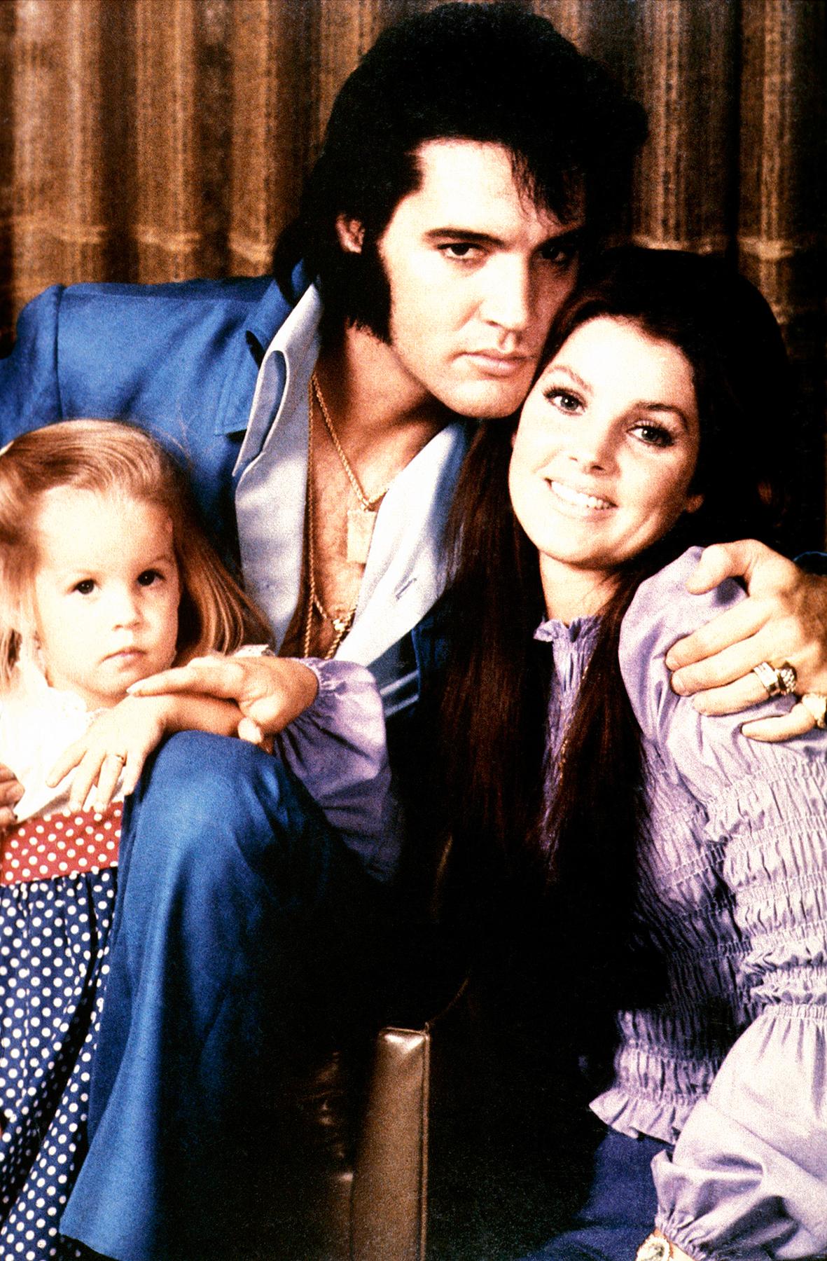 Lisa Marie Presley, Priscilla Presley and Elvis Presley c. 1970