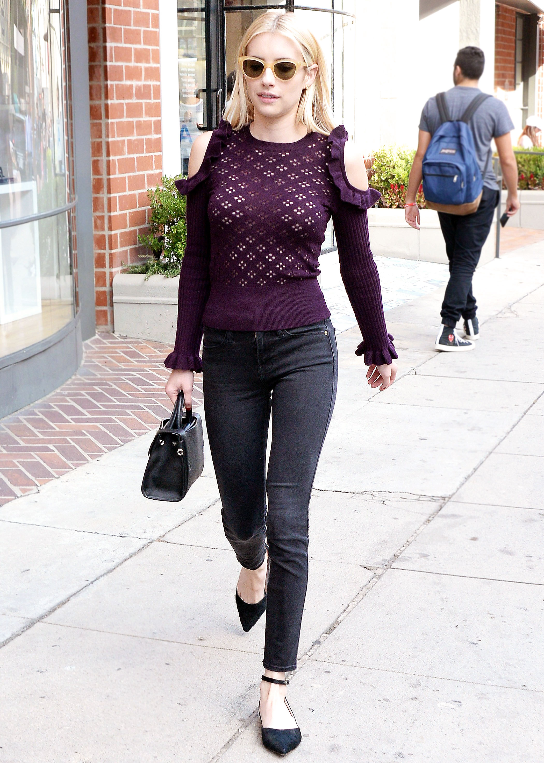 Shop Emma Roberts' Purple Cold-Shoulder Sweater