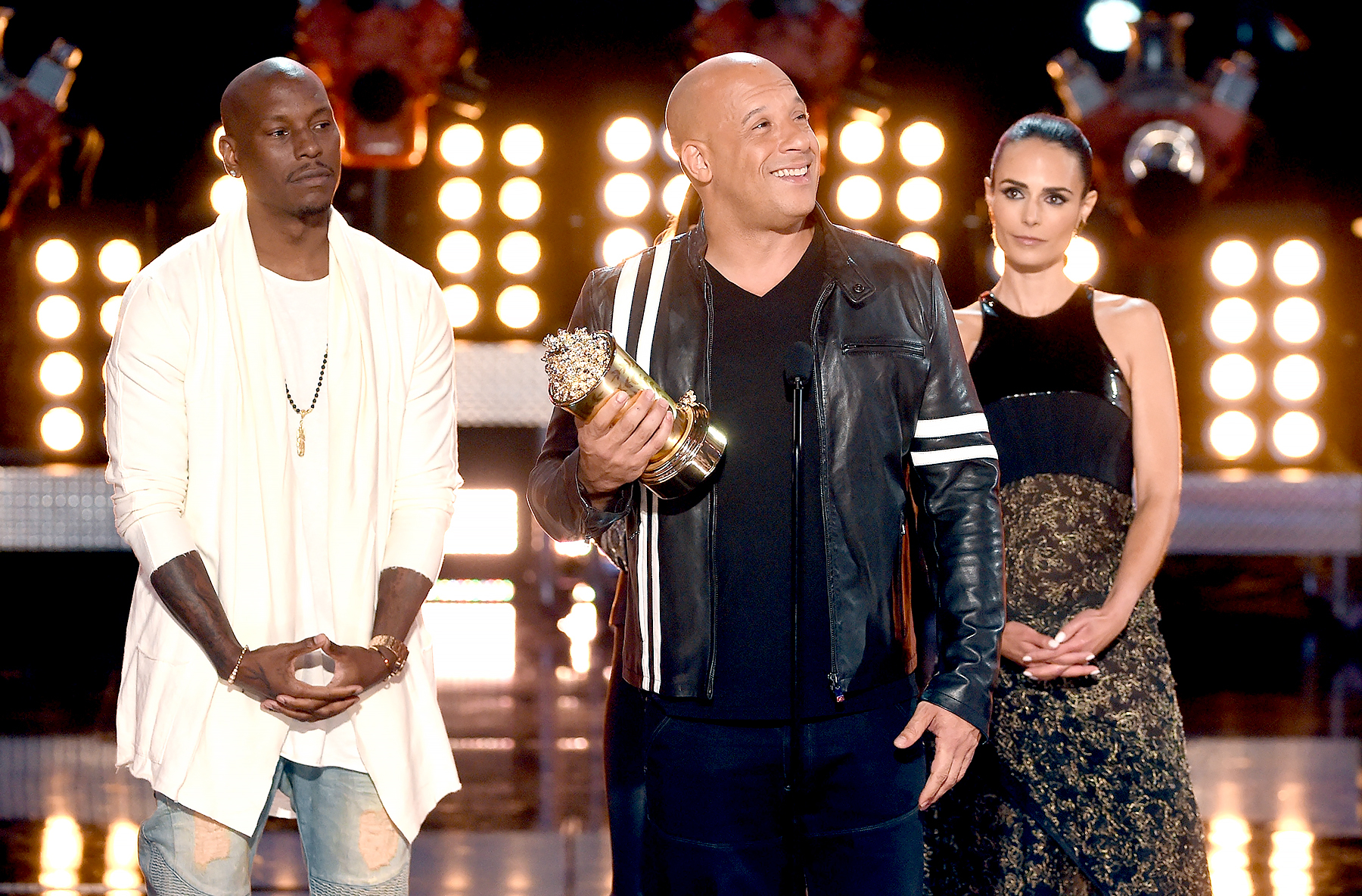 Tyrese Gibson, Vin Diesel and Jordana Brewster accept the MTV Generation Award for 'The Fast and the Furious' franchise onstage during the 2017 MTV Movie And TV Awards at The Shrine Auditorium on May 7, 2017 in Los Angeles, California.