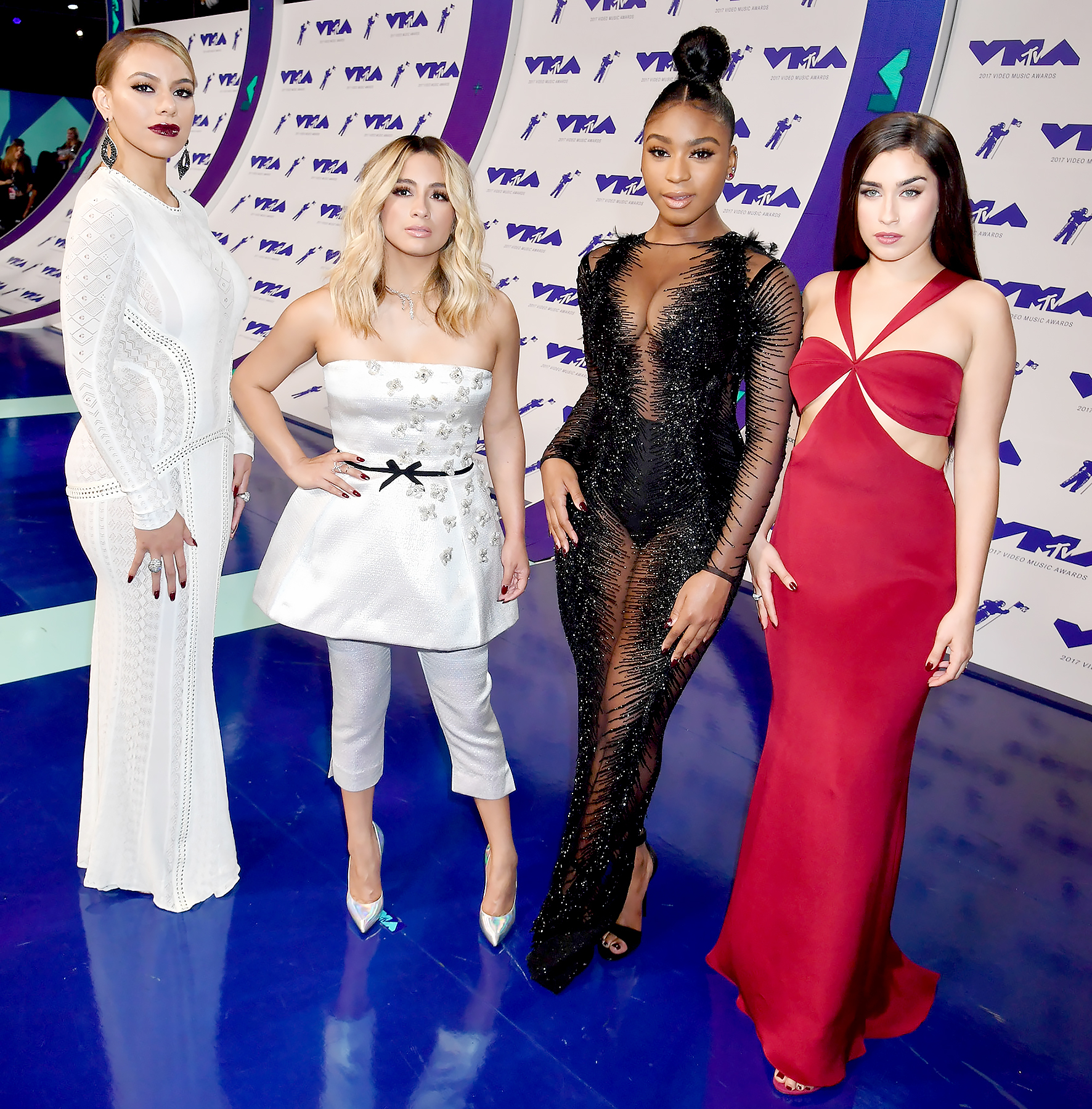 Dinah Jane, Ally Brooke, Normani Kordei and Lauren Jauregui of Fifth Harmony attend the 2017 MTV Video Music Awards at The Forum in Inglewood, California, on August 27, 2017.