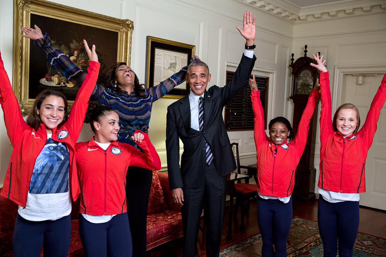 Aly Raisman, Laurie Hernandez, Michelle Obama, Barack Obama, Simone Biles and Madison Kocian