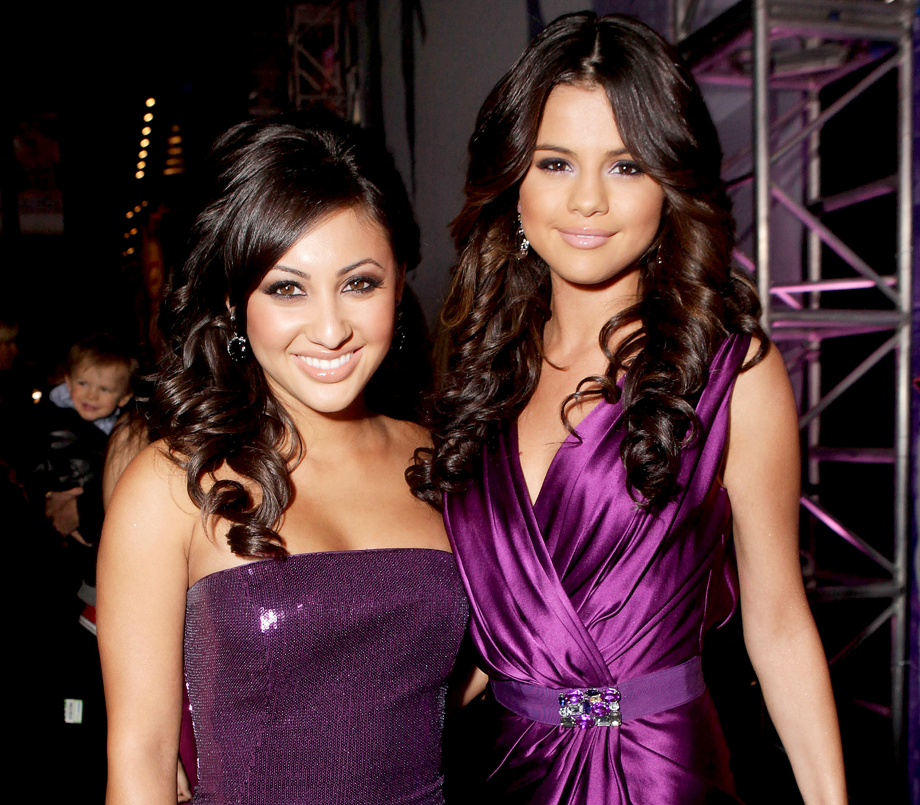 """Francia Raisa and Selena Gomez arrive at the """"Justin Bieber: Never Say Never"""" Los Angeles Premiere held at Nokia Theatre L.A. Live on February 8, 2011 in Los Angeles, California."""