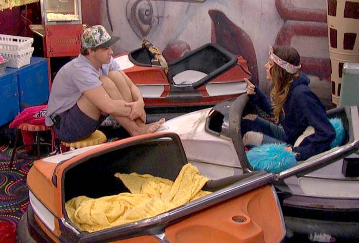 Frank and Tiffany talk in the Have/Have Not room on Big Brother.