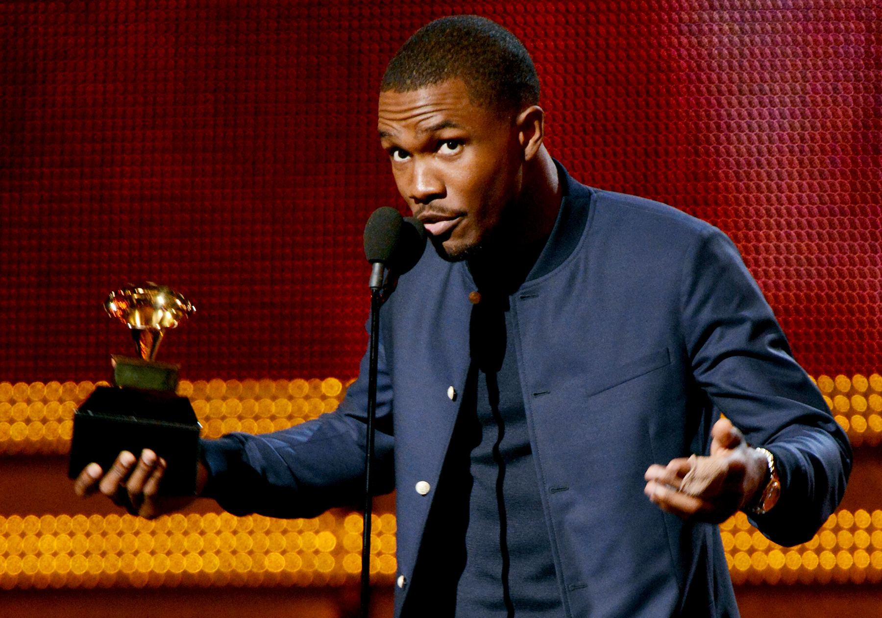 Frank Ocean accepts an award onstage at the 55th Annual GRAMMY Awards at Staples Center on February 10, 2013 in Los Angeles, California.