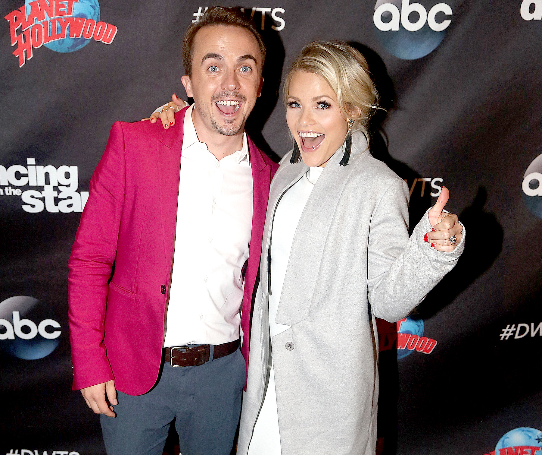 Frankie Muniz and Witney Carson pose at ABC's 'Dancing With the Stars' season 25 cast announcement event at Planet Hollywood Times Square in New York City on September 6, 2017.