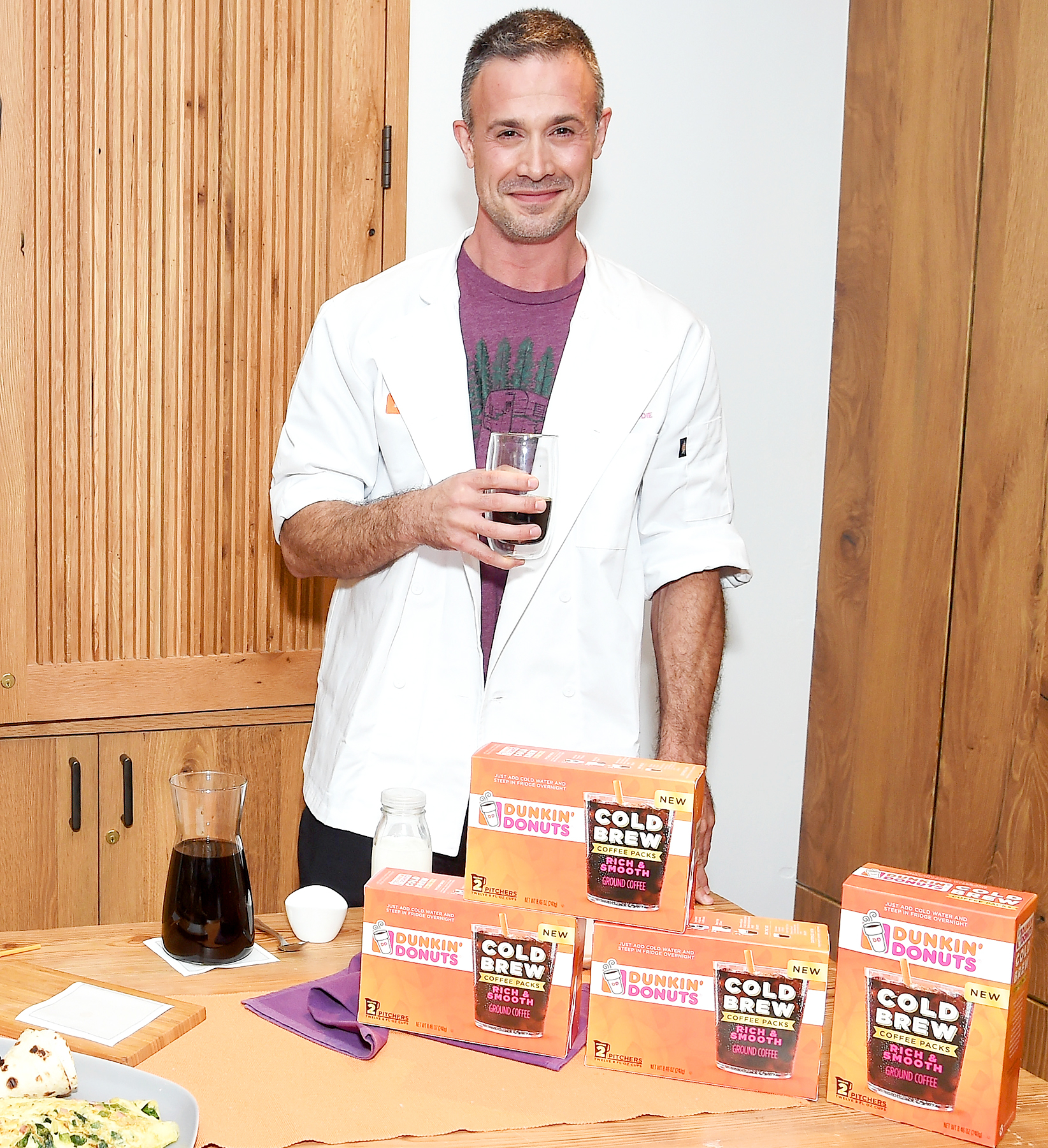 Cookbook author and actor, Freddie Prinze, Jr., helps Dunkin' Donuts® Coffee at Home launch Its new Cold Brew Coffee Packs on August 24, 2017 in New York City.
