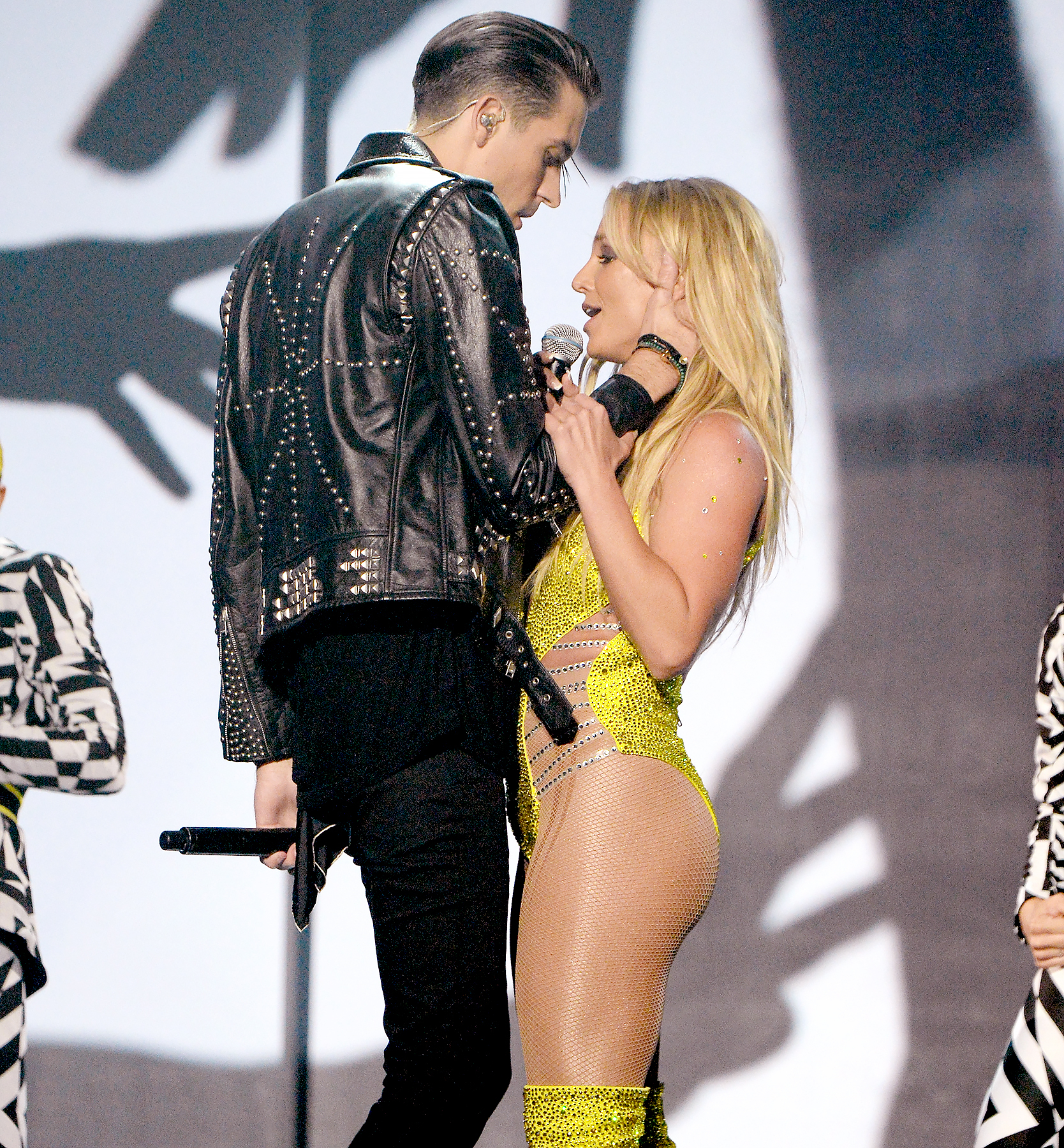 G-Eazy and Britney Spears perform onstage during the 2016 MTV Music Video Awards.