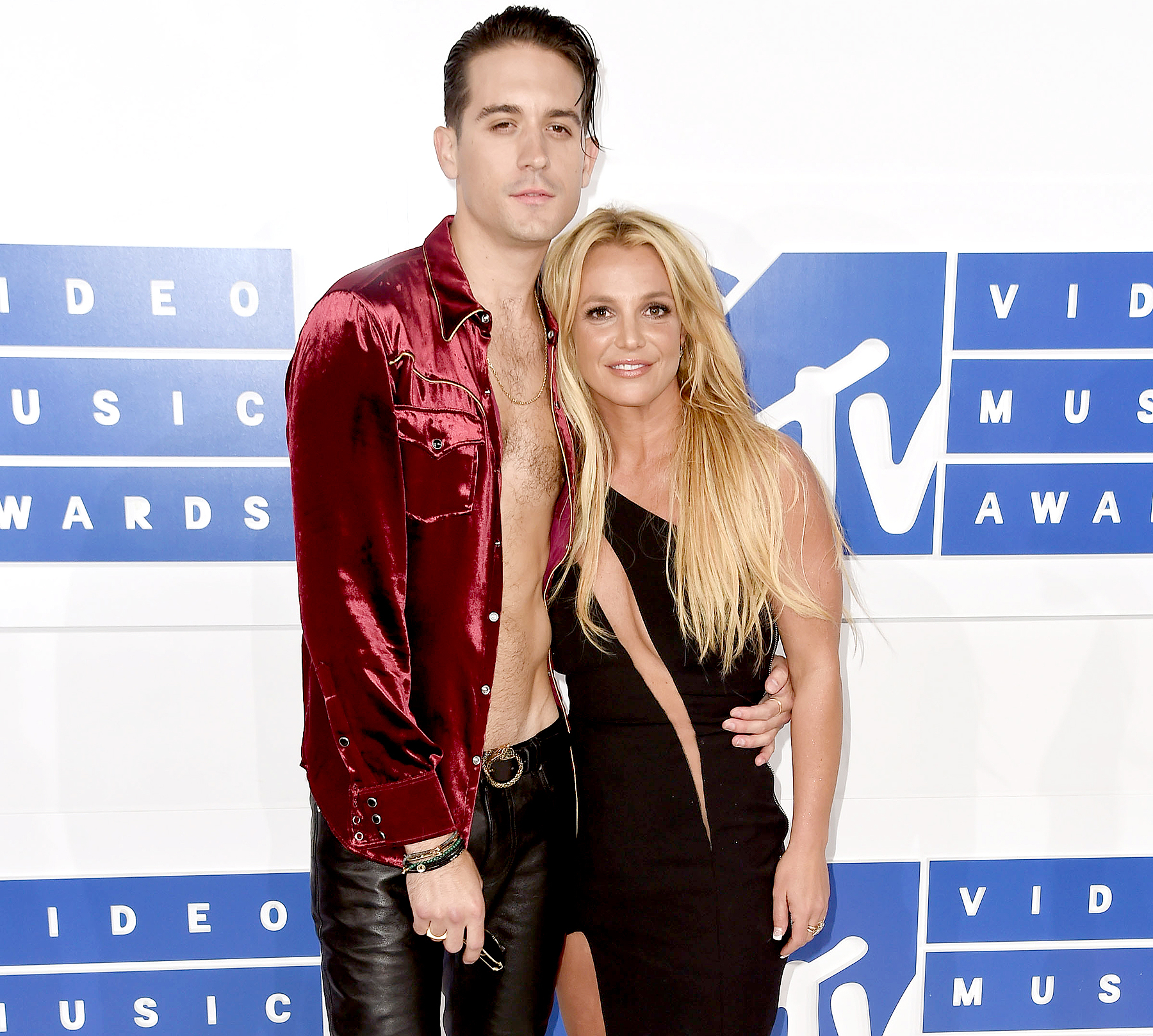 Rapper G-Eazy and Britney Spears attend the 2016 MTV Video Music Awards.