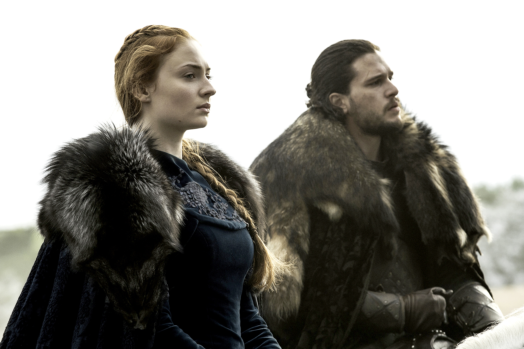 Sophie Turner and Kit Harington on Game of Thrones.