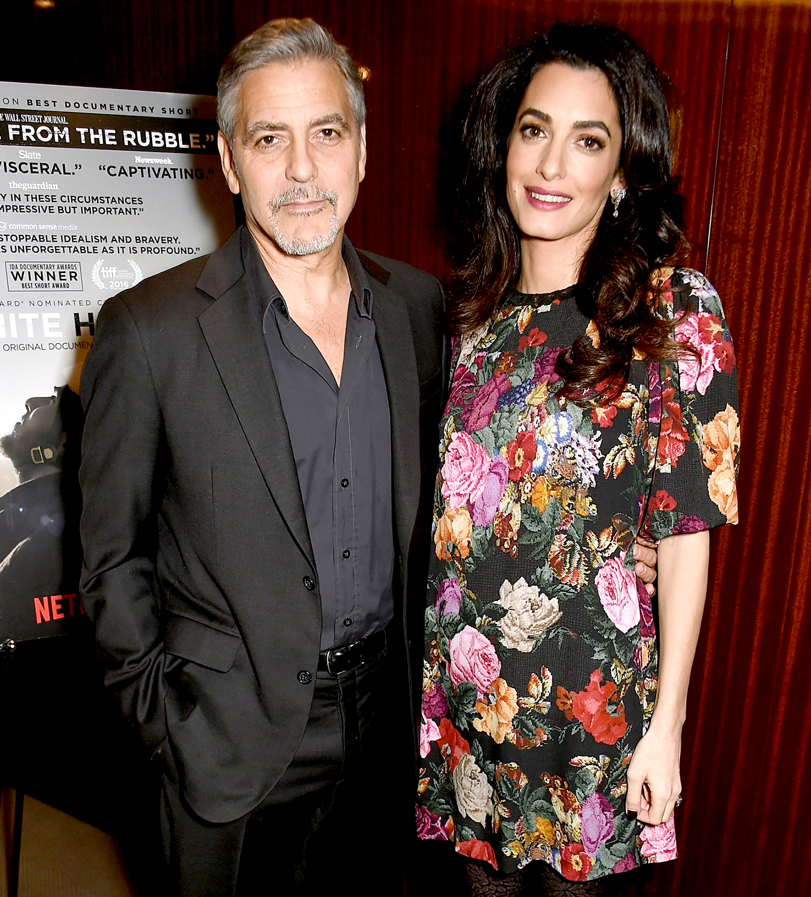 George and Amal Clooney attend the Netflix special screening and reception of 'The White Helmets' hosted by the Clooney Foundation for Justice at the Bulgari Hotel on Jan. 9, 2017, in London.