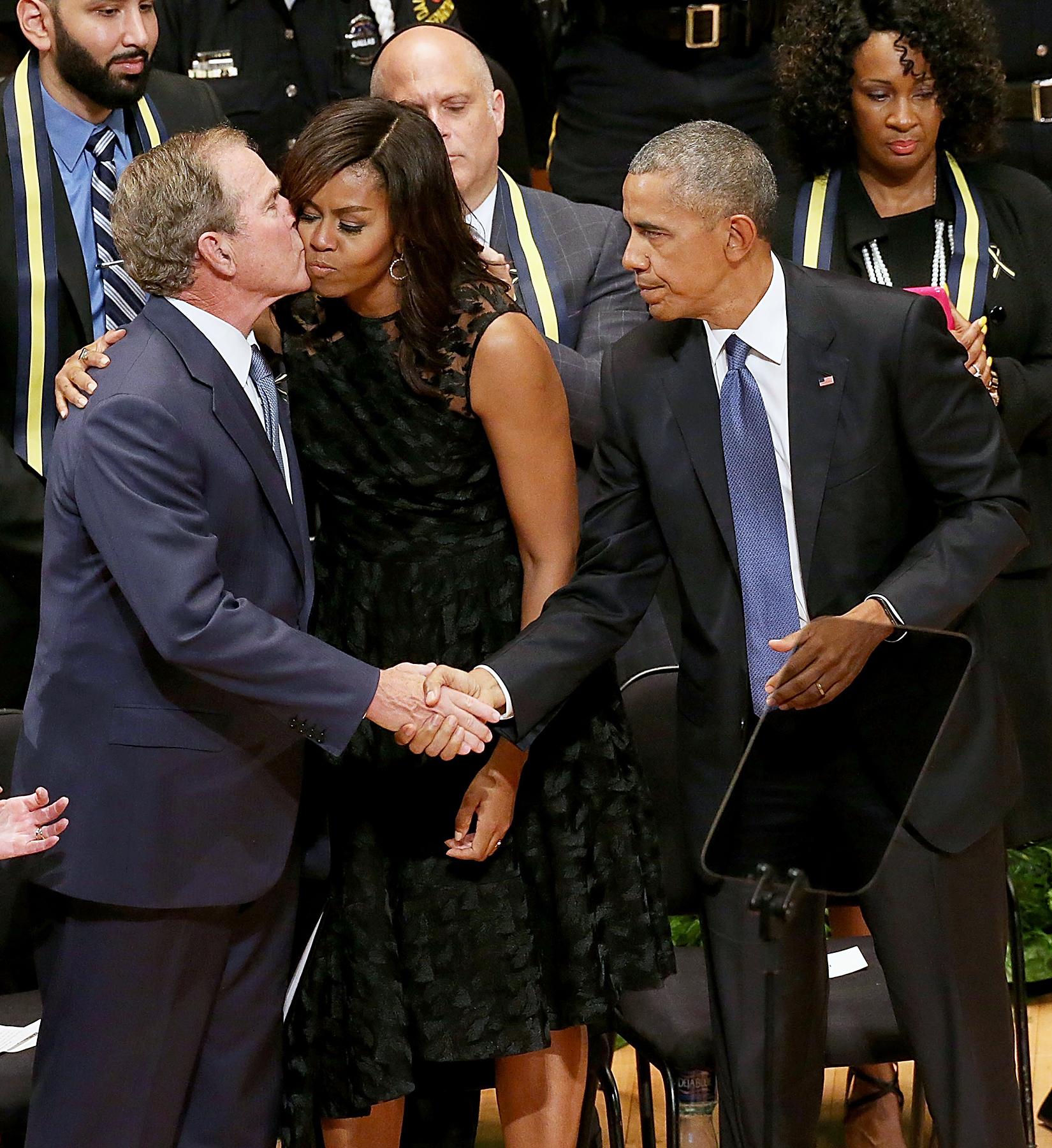 George Bush Michelle Obama Barack Obama Dallas shooting memorial