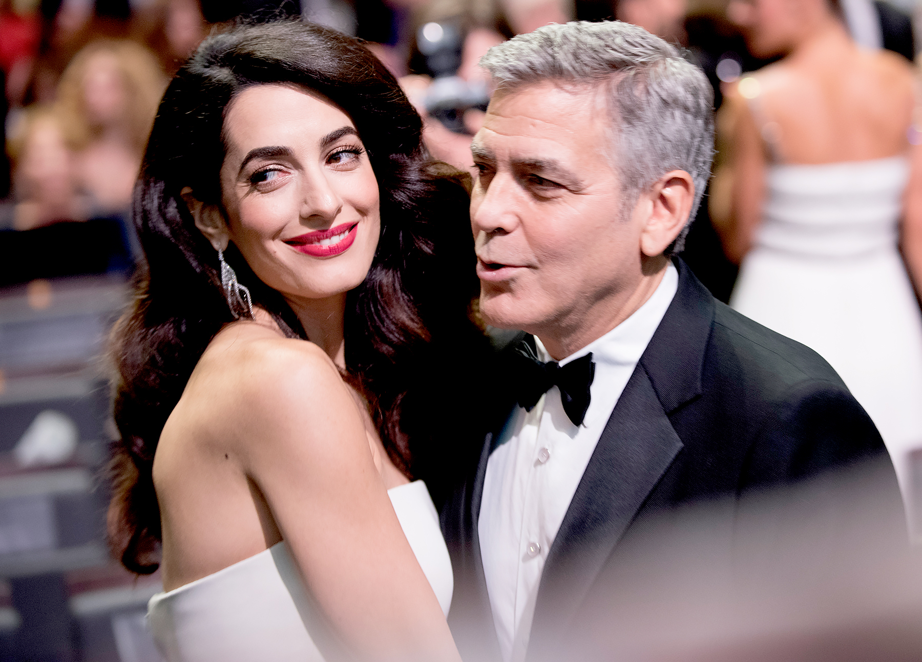 Amal Clooney and George Clooney prior to the Cesar Film Awards Ceremony at Salle Pleyel on February 24, 2017 in Paris, France.
