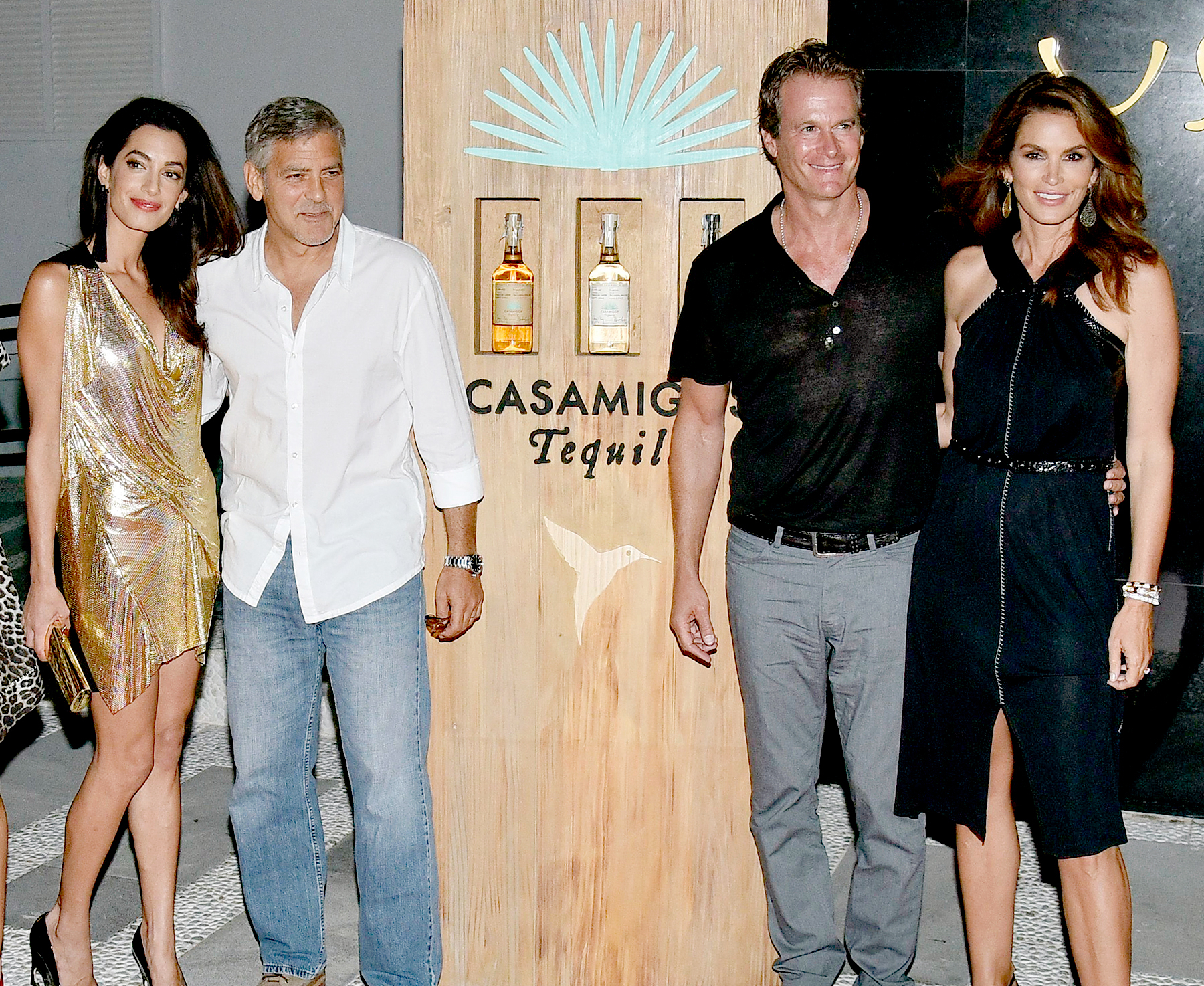 Amal Alamuddin, George Clooney, Rande Gerber and Cindy Crawford host the official launch of Casamigos Tequila in Ibiza, at Ushuaia Ibiza Beach hotel on August 23, 2015 in Ibiza, Spain.