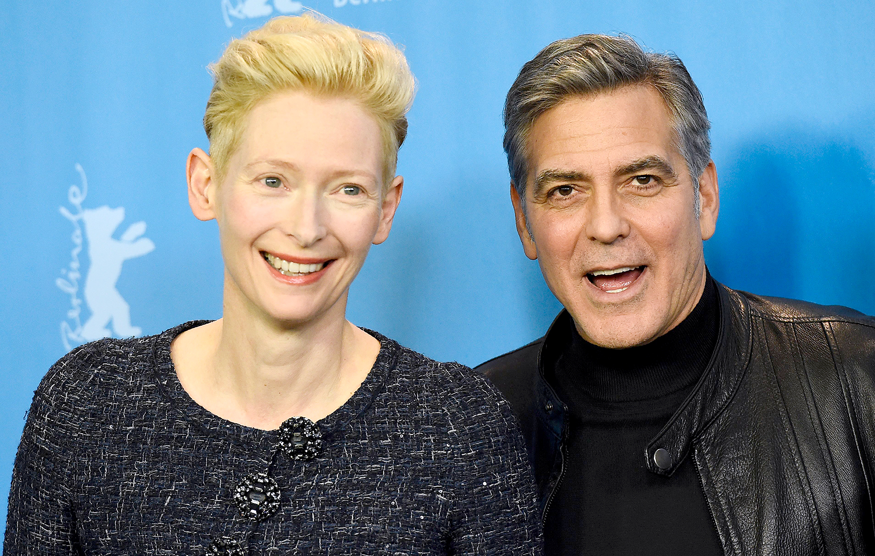 "George Clooney and Tilda Swinton pose during a photo call for the film ""Hail, Caesar!"" screened as opening film of the 66th Berlinale Film Festival in Berlin on February 11, 2016."