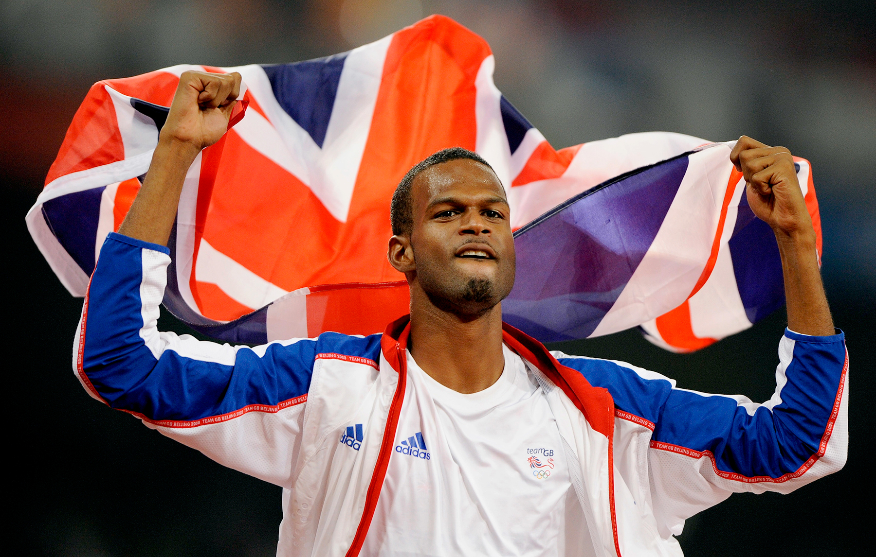 Britain's Germaine Mason celebrates winning the silver in the men's high jump final during the athletics competitions in the National Stadium at the Beijing 2008 Olympics in Beijing.