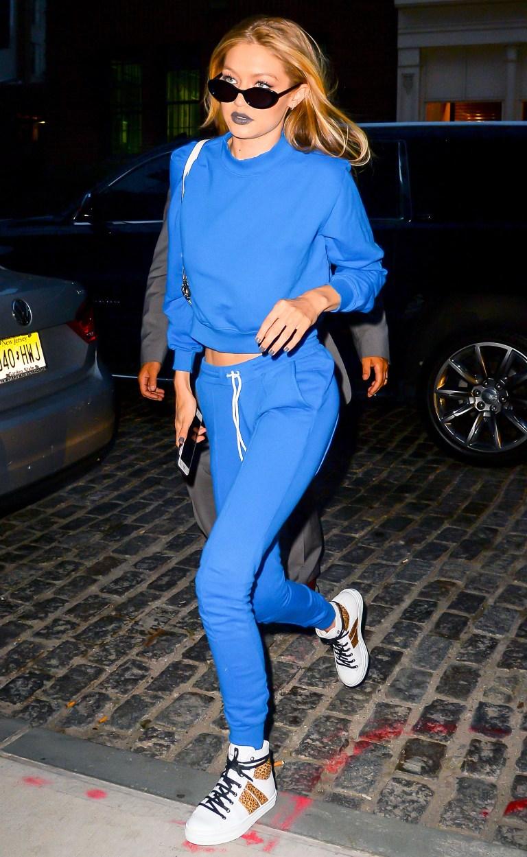 Gigi Hadid wearing Cotton Citizen sweatpants
