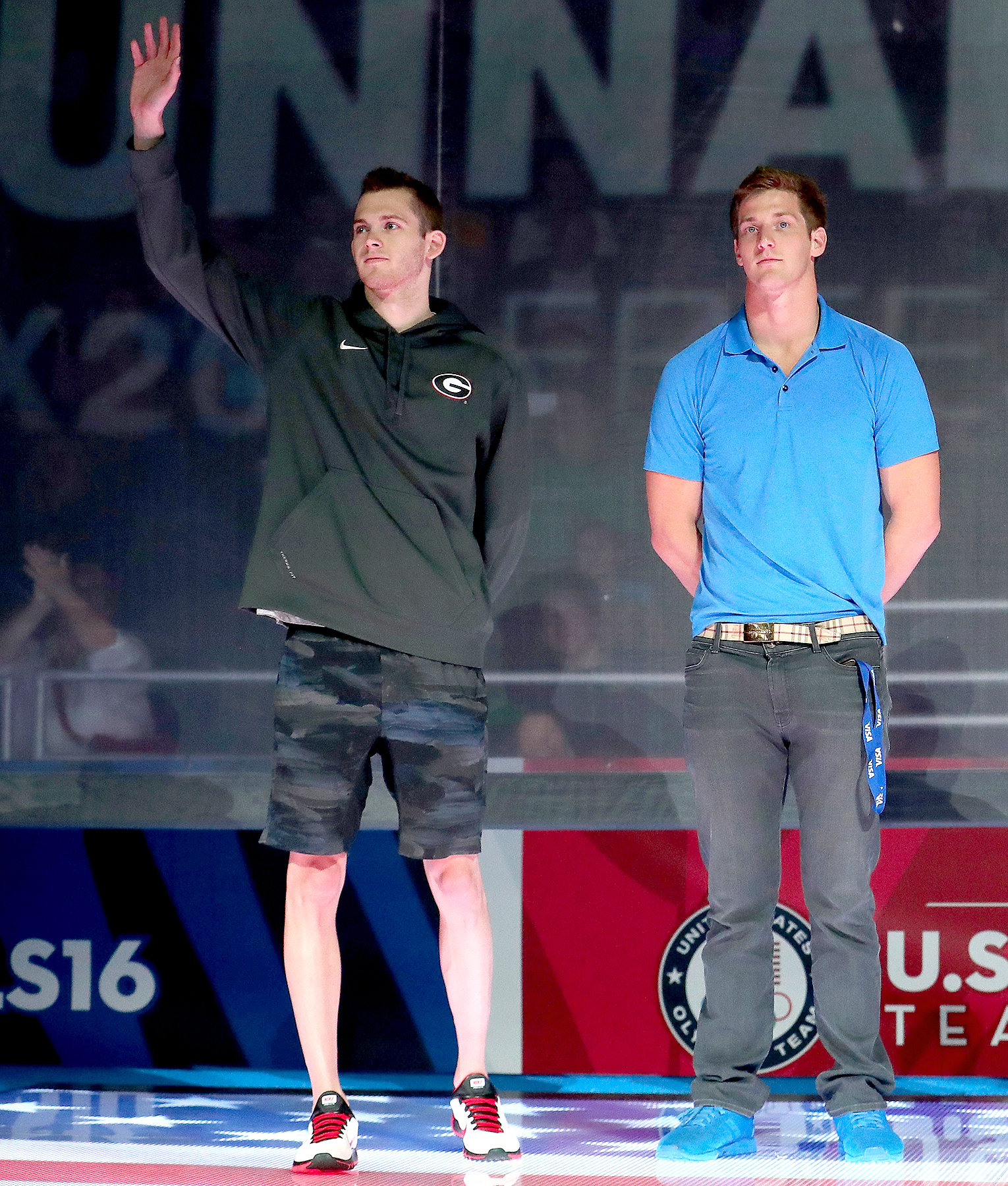 Gunnar Bentz and Jimmy Feigen of the United States participate in the medal ceremony during Day Eight of the 2016 U.S. Olympic Team Swimming Trials at CenturyLink Center on July 3, 2016 in Omaha, Nebraska.