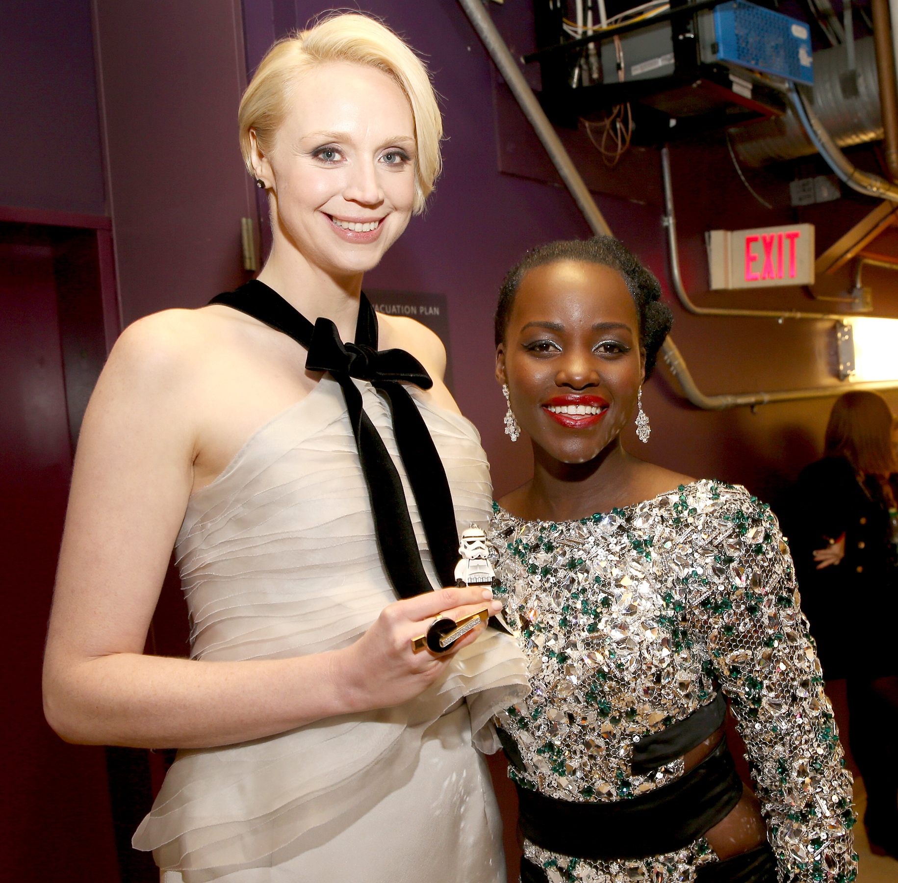 Gwendoline Christie and Lupita Nyong'o attend the world premiere of