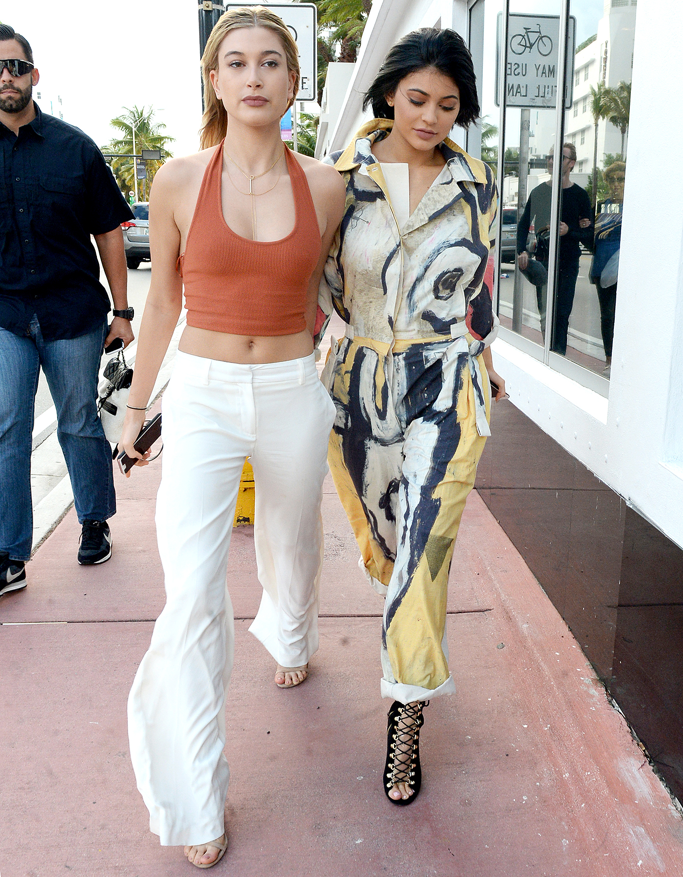 Models Kylie Jenner and Hailey Baldwin are seen shopping on a blustery day in Miami Beach on December 6.