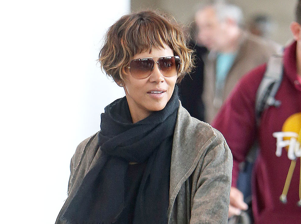 Halle Berry Gets Ear Length Bob Haircut With Blunt Bangs See Her
