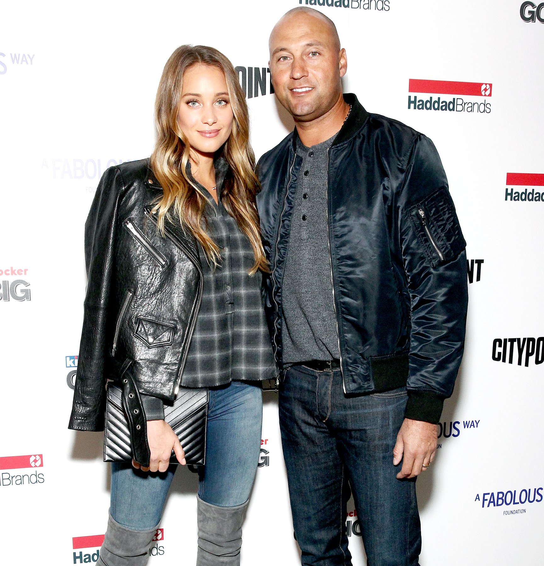 Hannah Davis and Derek Jeter attend BKLYN Rocks presented by City Point, Kids Foot Locker, and Haddad Brands at City Point on November 9, 2016 in Brooklyn City.