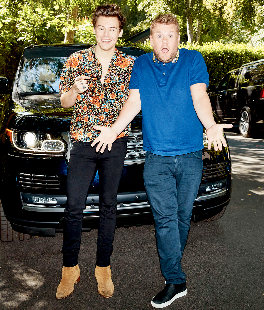 "Harry Styles performs in a Carpool Karaoke with James Corden during ""The Late Late Show with James Corden,"" May 18, 2017."