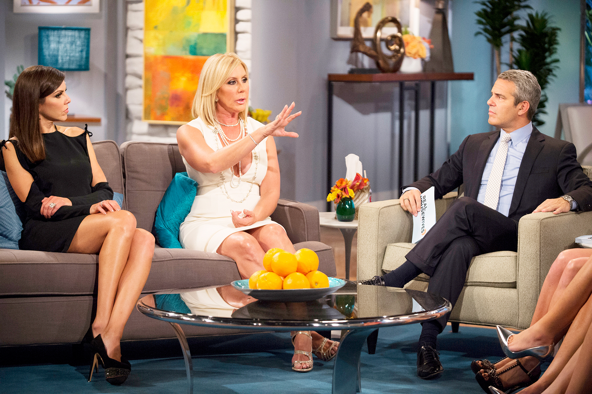 Heather Dubrow, Vicki Gunvalson and Andy Cohen