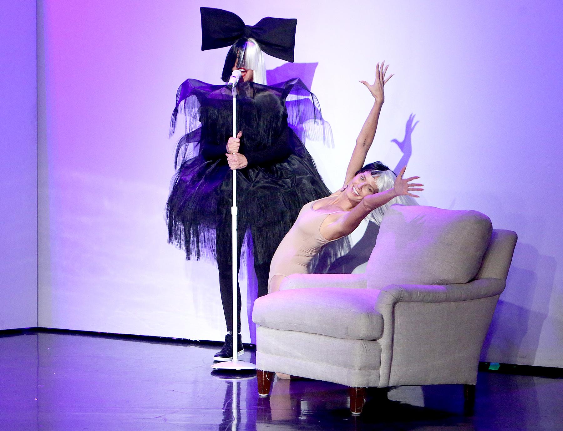 Ellen DeGeneres and Heidi Klum dressed up as Sia and Maddie Ziegler.