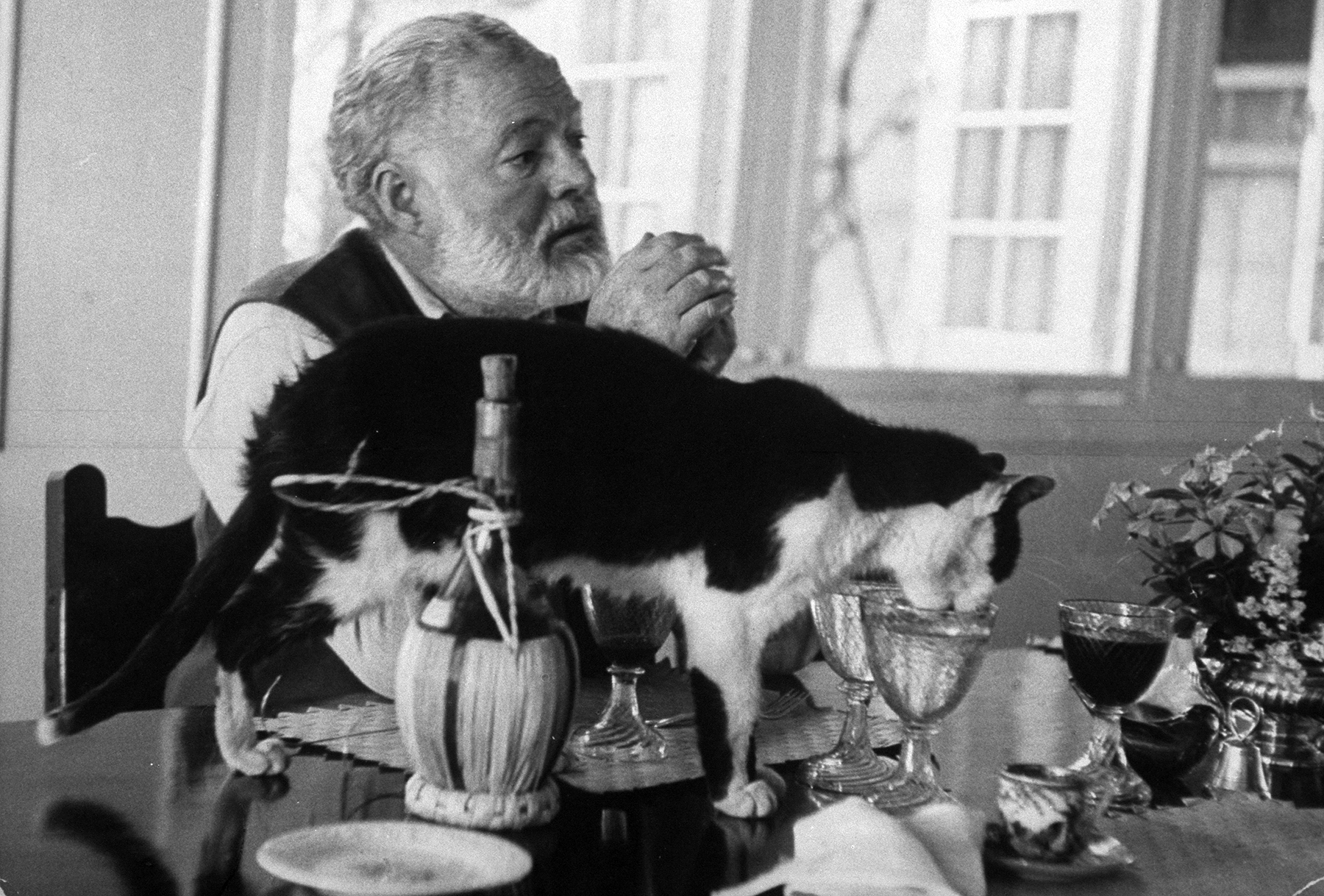 Ernest Hemingway sitting at table with his cat circa 1960.