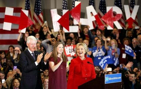 Bill, Hillary and Chelsea Clinton