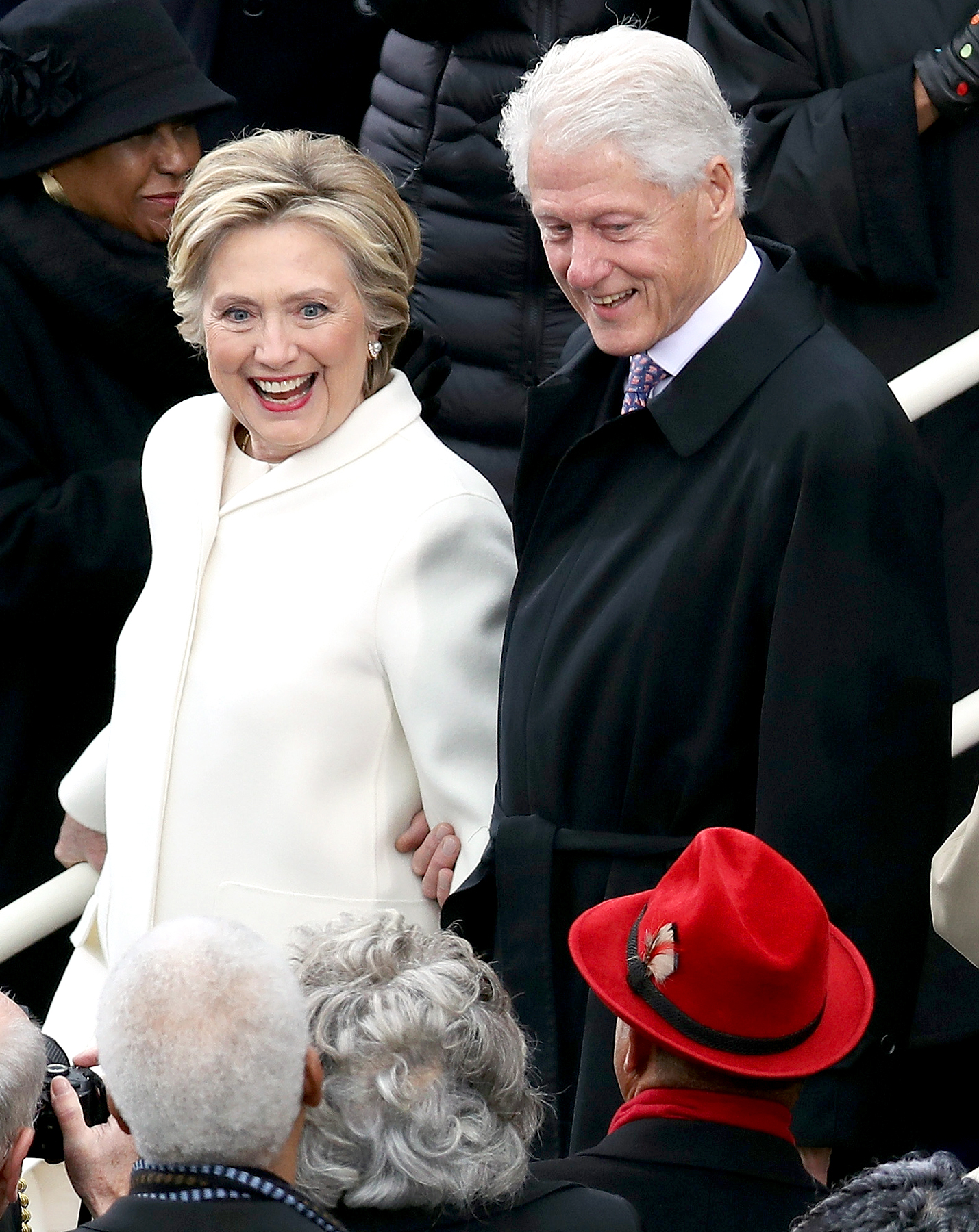 Hillary Clinton and Bill Clinton arrive on the West Front of the U.S. Capitol on January 20, 2017 in Washington, DC.