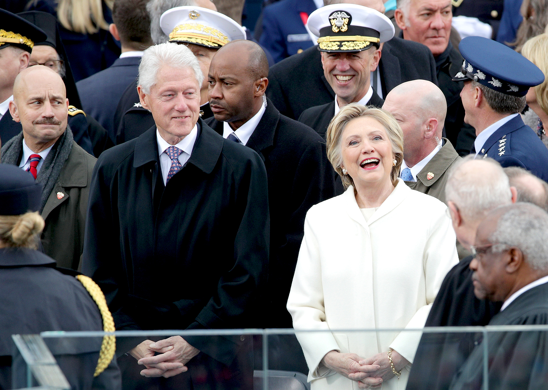 Former President Bill Clinton and former Democratic presidential nominee Hillary Clinton arrive on the West Front of the U.S. Capitol on January 20, 2017 in Washington, DC.