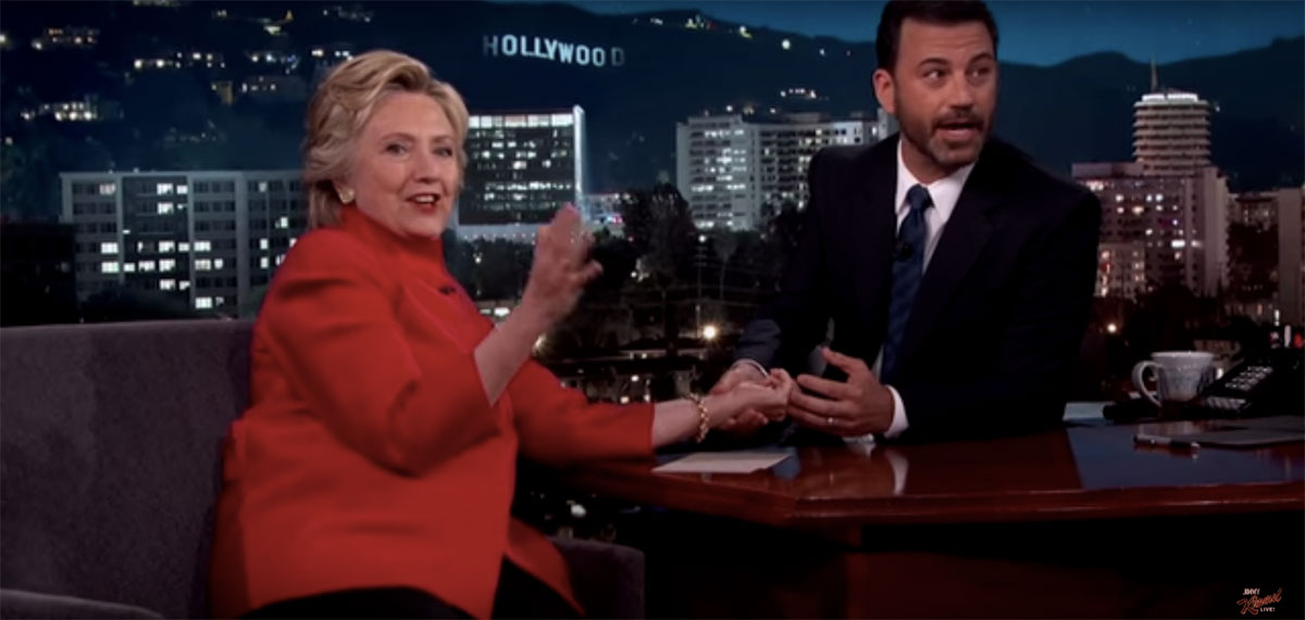 Jimmy Kimmel takes Hillary Clinton's pulse during her appearance on his show on Monday August 22
