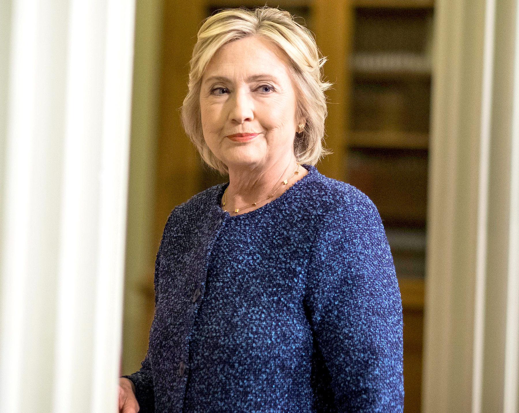 Democratic Nominee for President of the United States former Secretary of State Hillary Clinton speaks to journalists after meeting national security experts for a National Security Working Session at the New York Historical Society Library in Manhattan, New York on Friday September 9, 2016.
