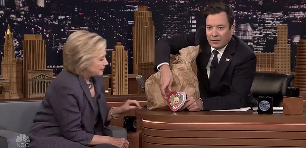 Jimmy Fallon and Hillary Clinton mock Donald Trump's 'bromance' with Vladimir Putin