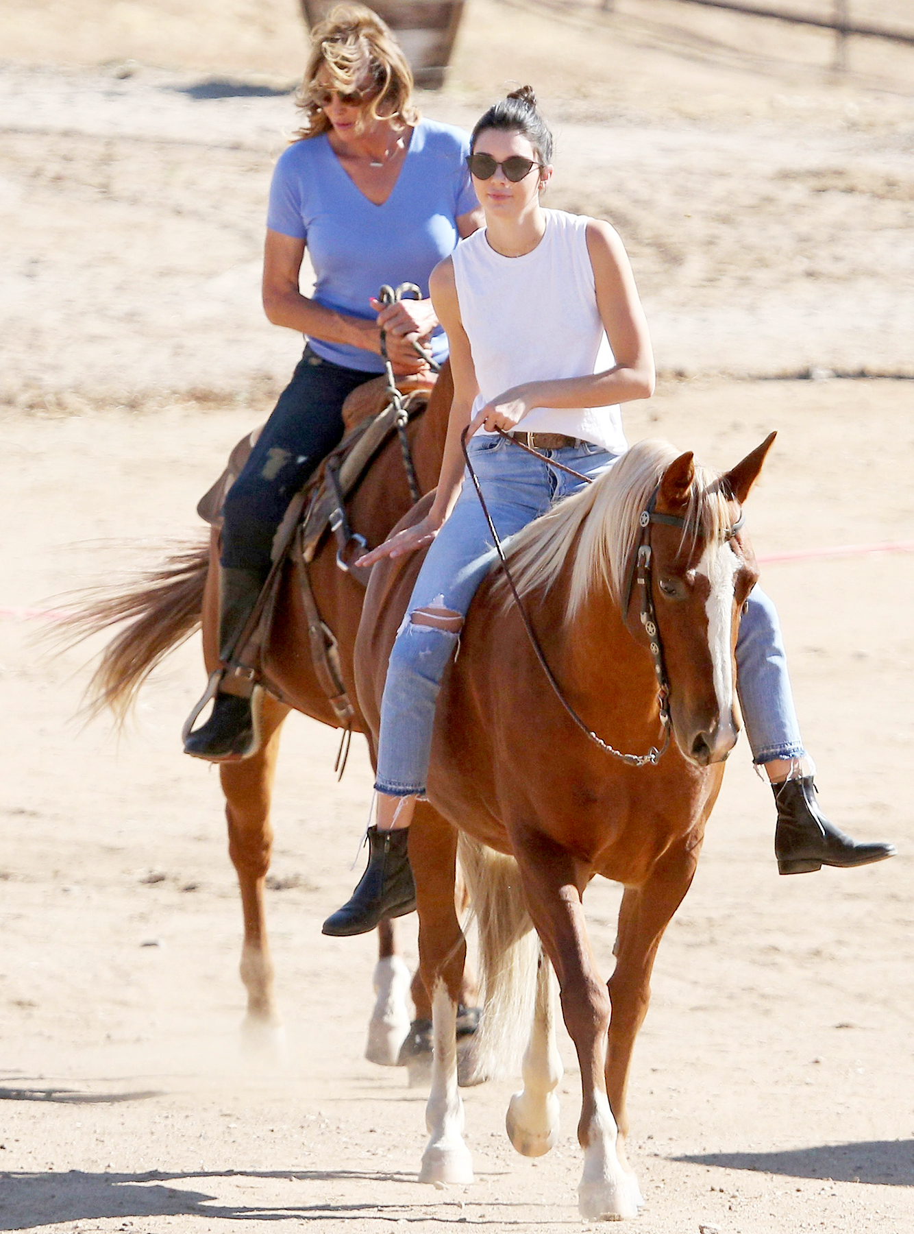 "Caitlyn Jenner and Kendall Jenner meet up to ride horses during filming of ""Keeping Up with the Kardashians,"" on October 21, 2016."