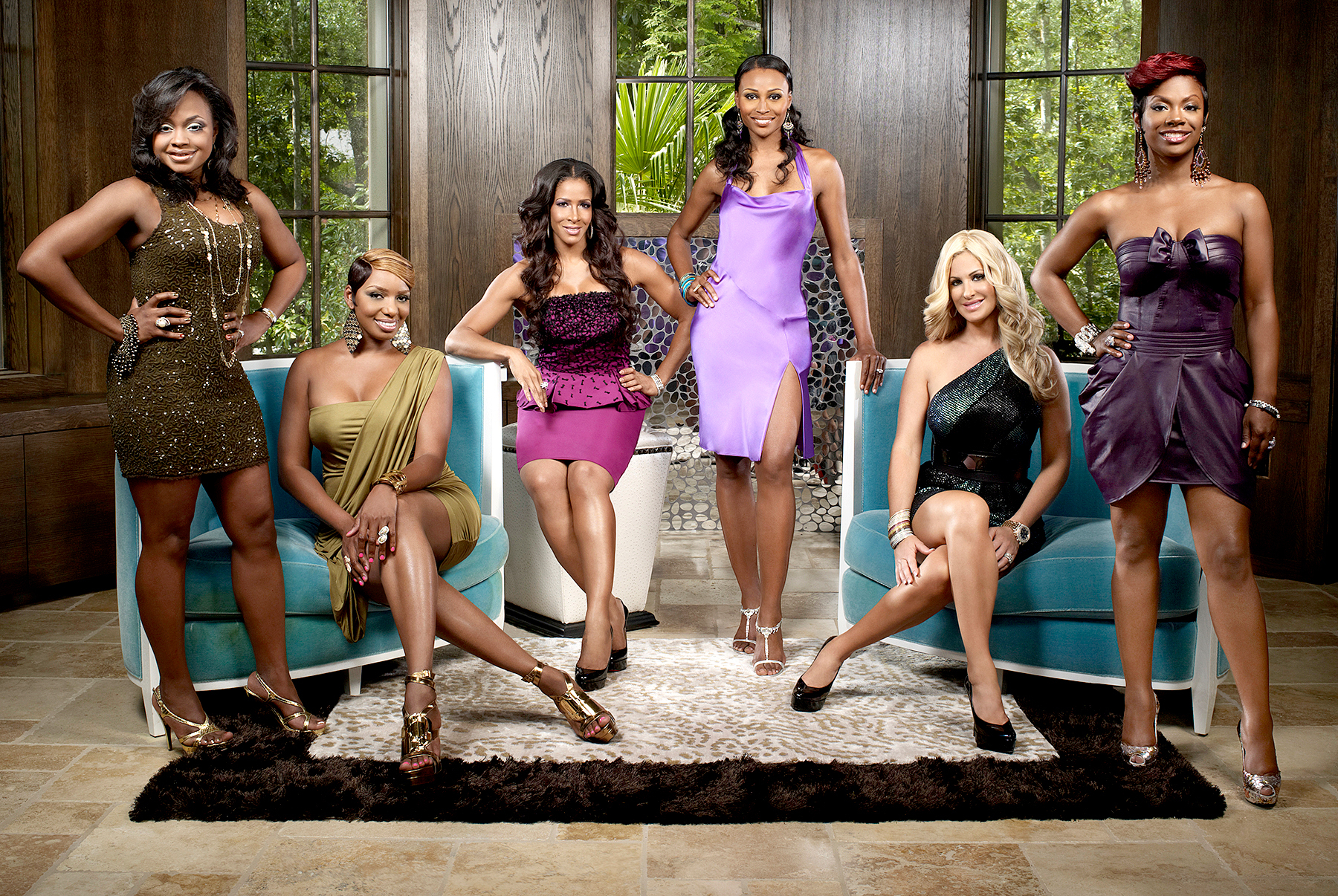 Phaedra Parks, NeNe Leakes, Sheree Whitfield, Cynthia Bailey, Kim Zolciak, Kandi Burruss on season 3 of The Real Housewives of Atlanta.