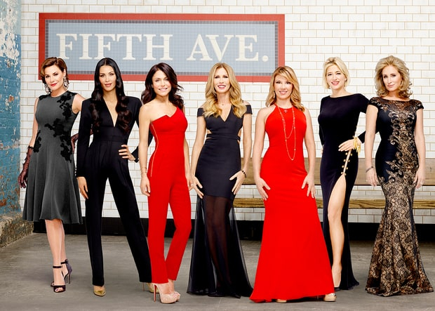 Luann de Lesseps, Julianne Wainstein, Bethenny Frankel, Carole Radziwill, Ramona Singer, Dorinda Medley, and Sonja Morgan in The Real Housewives Of New York City.