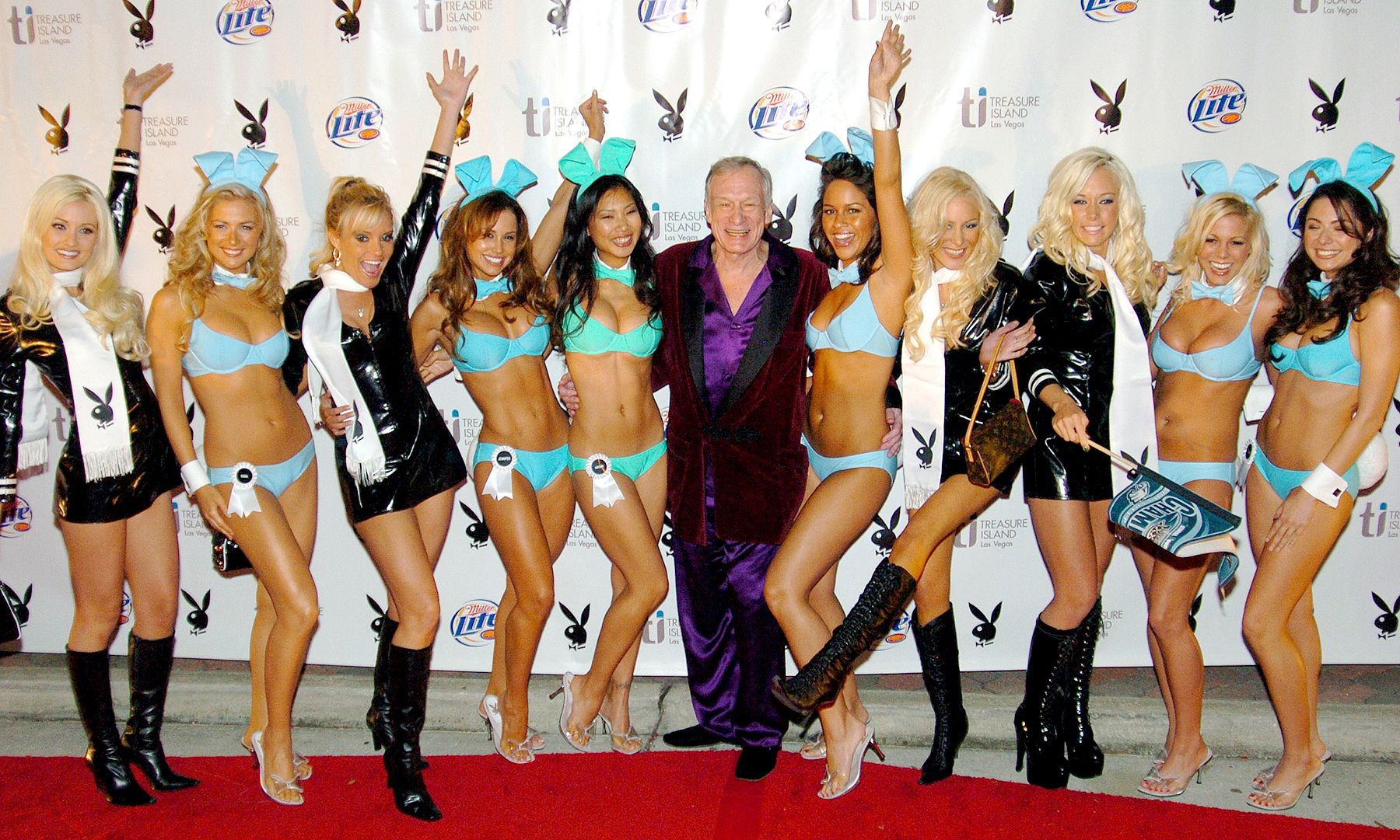 Hugh Hefner and Playboy Playmates during Playboy's 6th Annual Super Bowl Party at River City Brewing Company in Jacksonville, FL, in 2005.