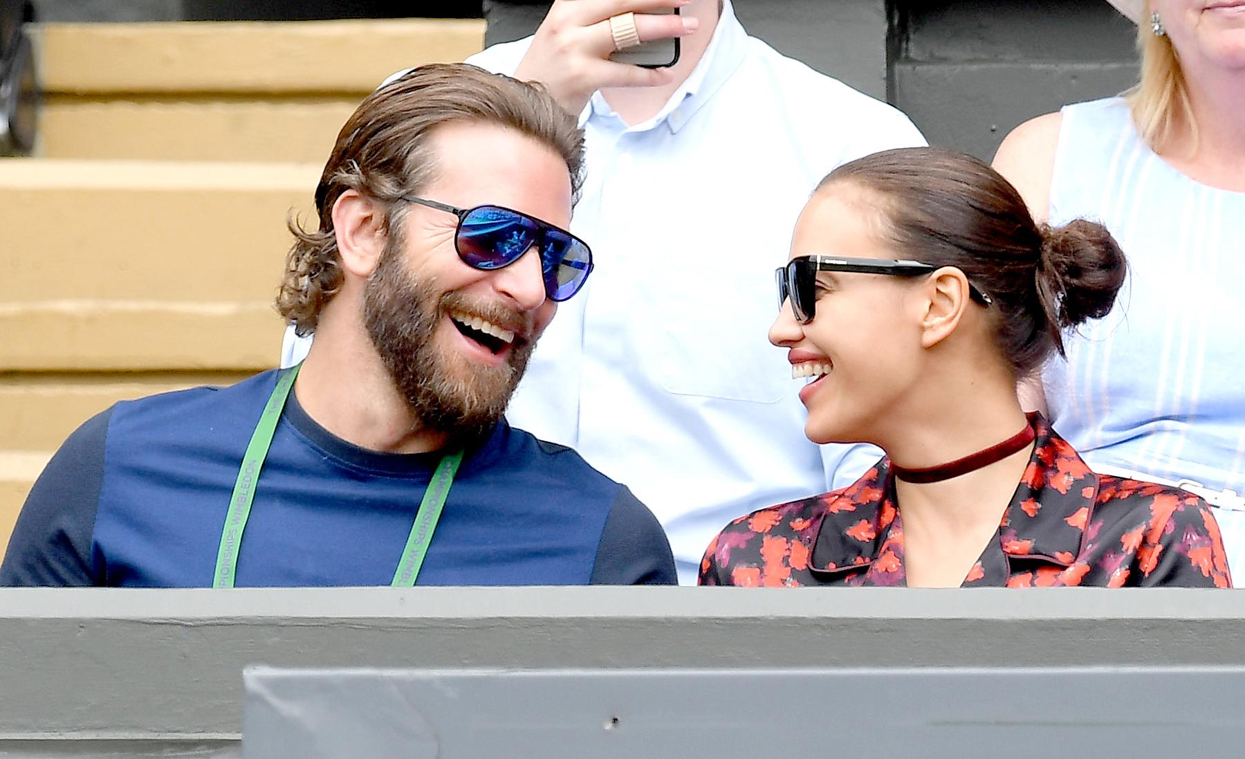 Bradley Cooper and Irina Shayk attend the Wimbledon Tennis Championships in London on July 8, 2016.