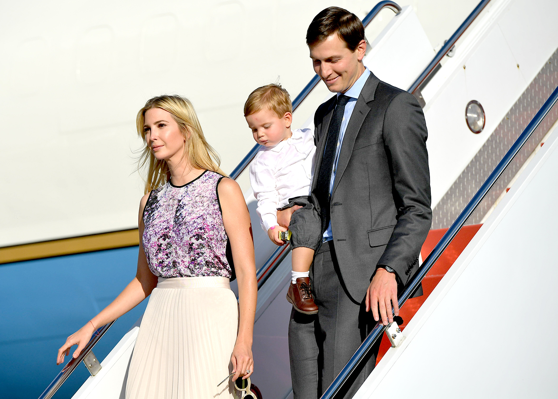 Ivanka Trump and husband Jared Kushner step off Air Force One with their child on September 15, 2017 in Morristown, New Jersey. US President Donal Trump, advisors and family are spending the weekend at Trump's Bedminster, New Jersey golf club.