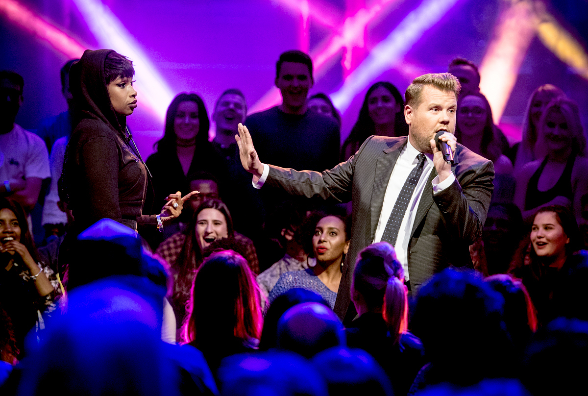 "James Corden battles Jennifer Hudson in Drop the Mic on The Late Late Show with James Corden,"" airing Wednesday, June 7th 2017 from London."