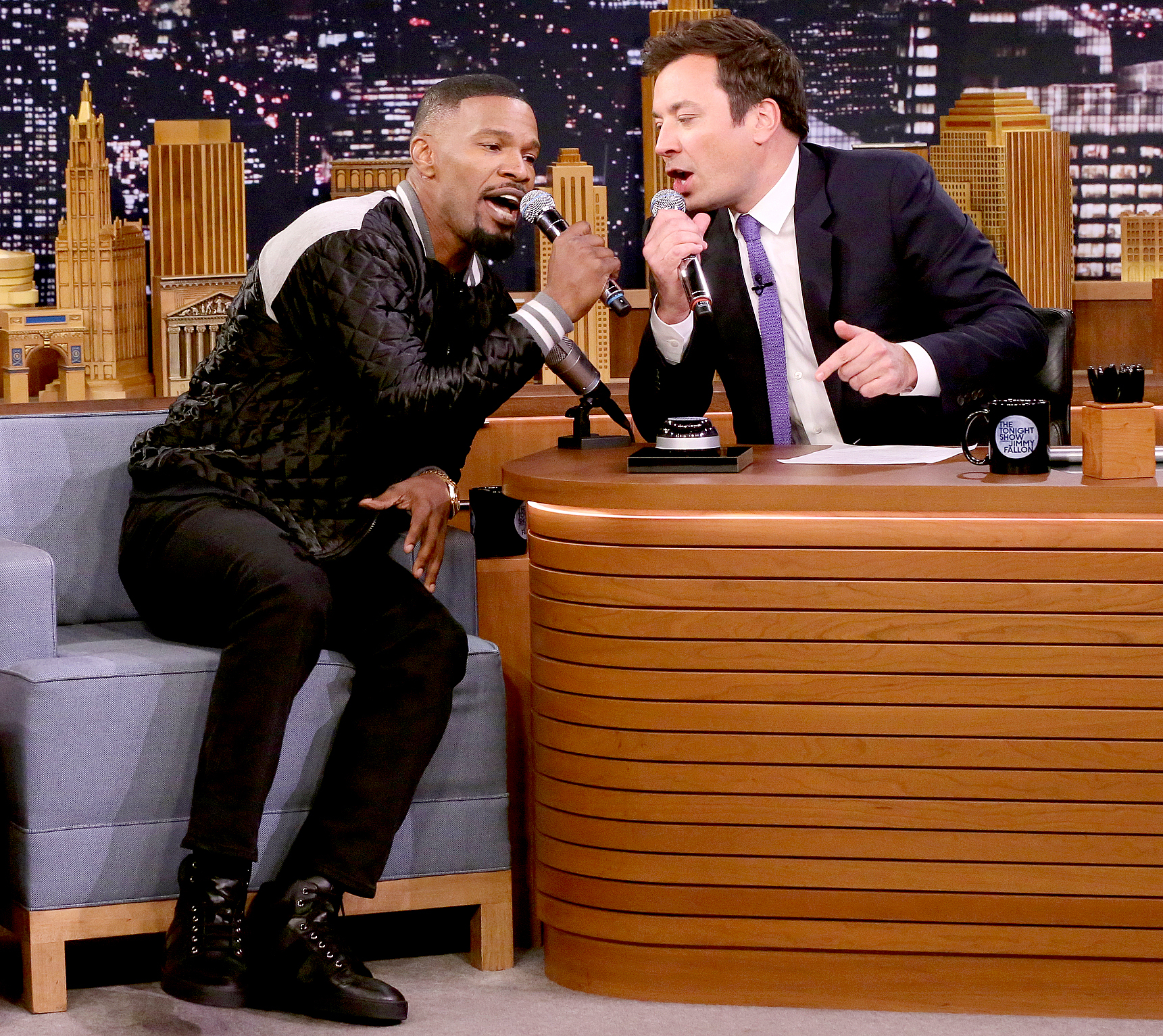 "Jamie Foxx with host Jimmy Fallon during ""Musical Genre Challenge"" on May 25, 2017."