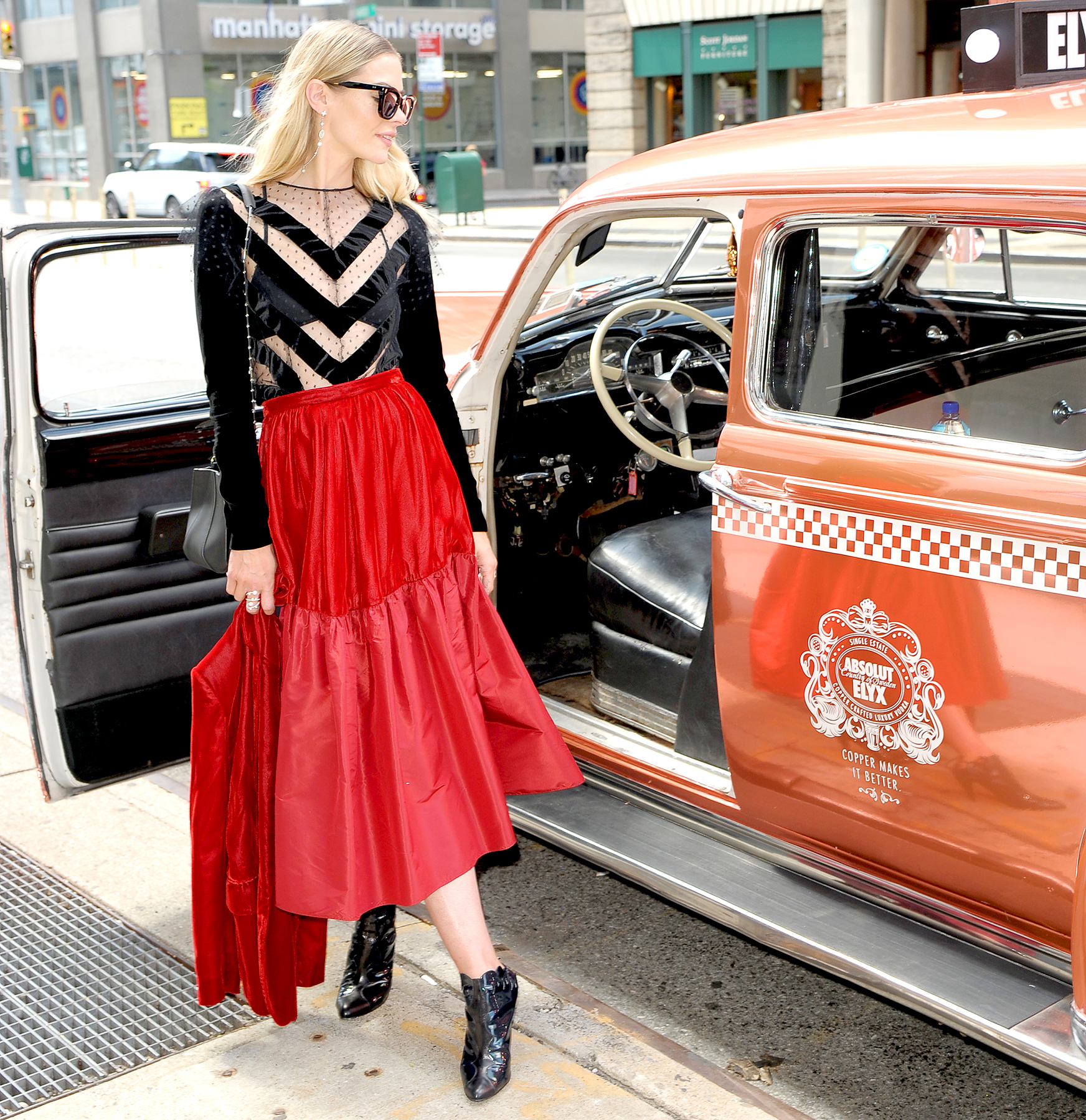 Jaime King Spotted in the Absolut Elyx Copper Cab at New York Fashion Week at SIR Stage 37 on September 9, 2017 in New York City.