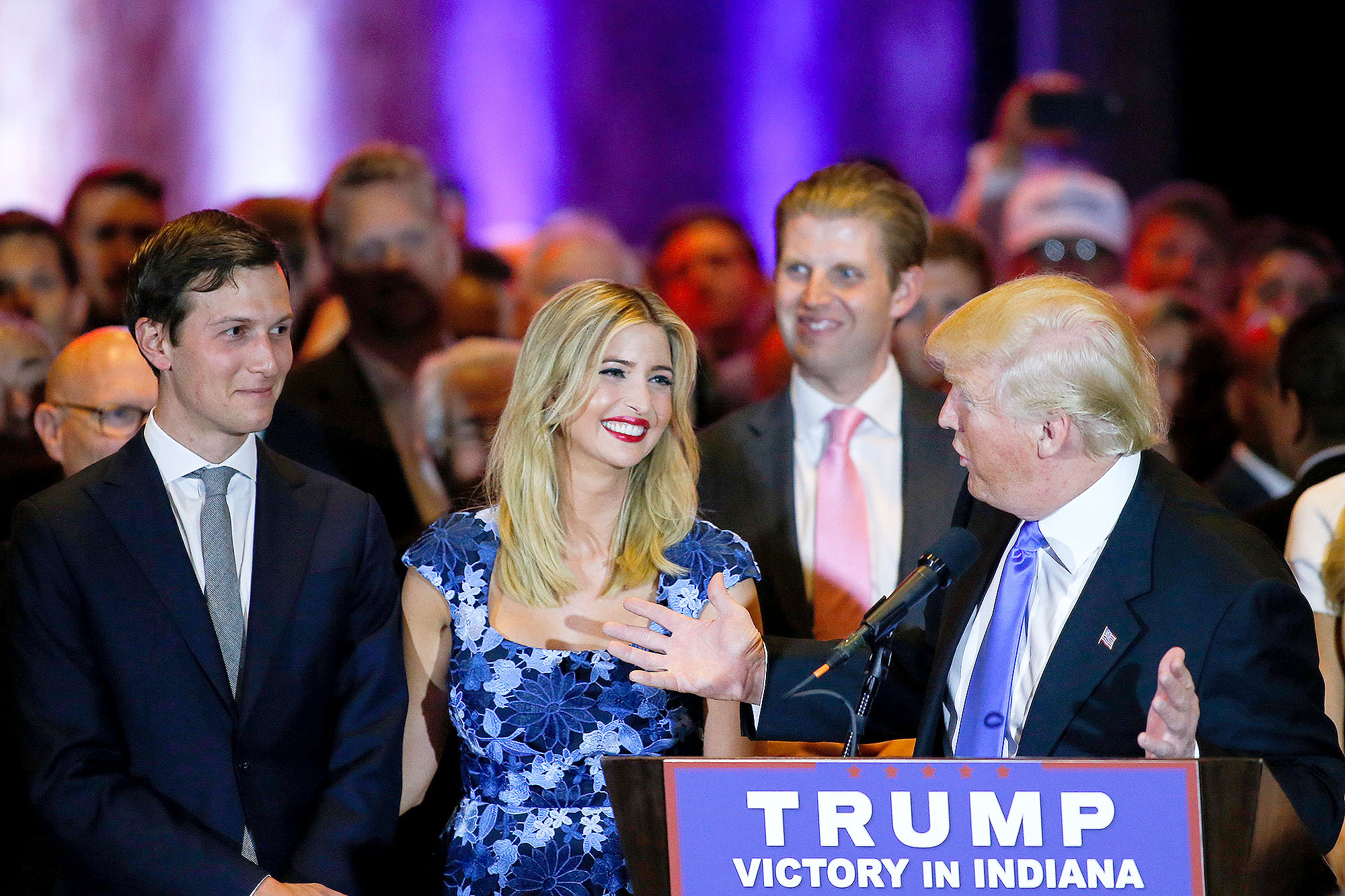 Jared Kushner (L) looks on as his wife Ivanka Trump smiles at her father Republican presidential front runner Donald Trump during his speech to supporters and the media at Trump Tower in Manhattan following his victory in the Indiana primary on May 03, 2016