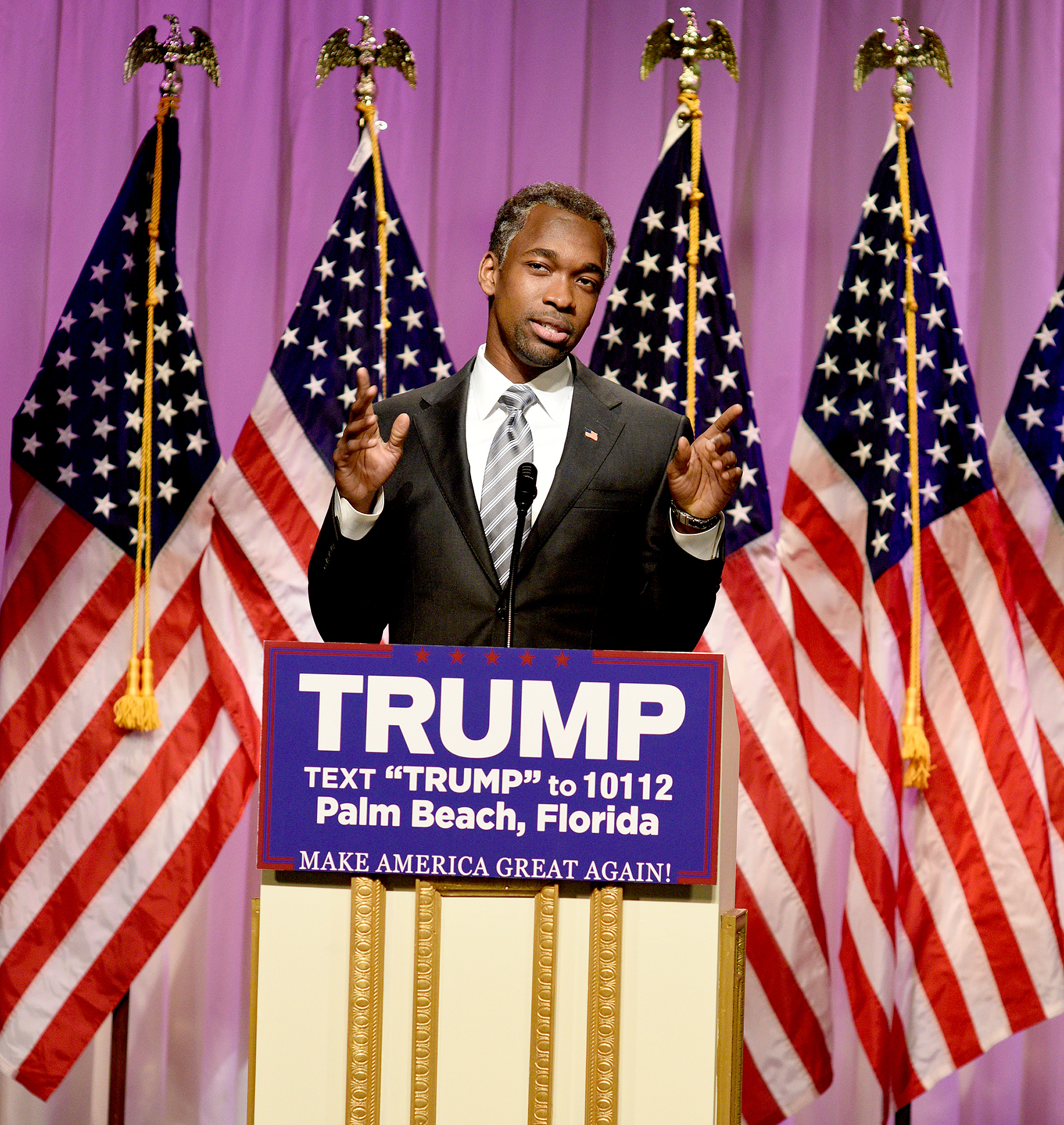 "Jay Pharoah as Doctor Ben Carson during the ""Carson Endorsement Cold Open"" sketch on March 12, 2016."