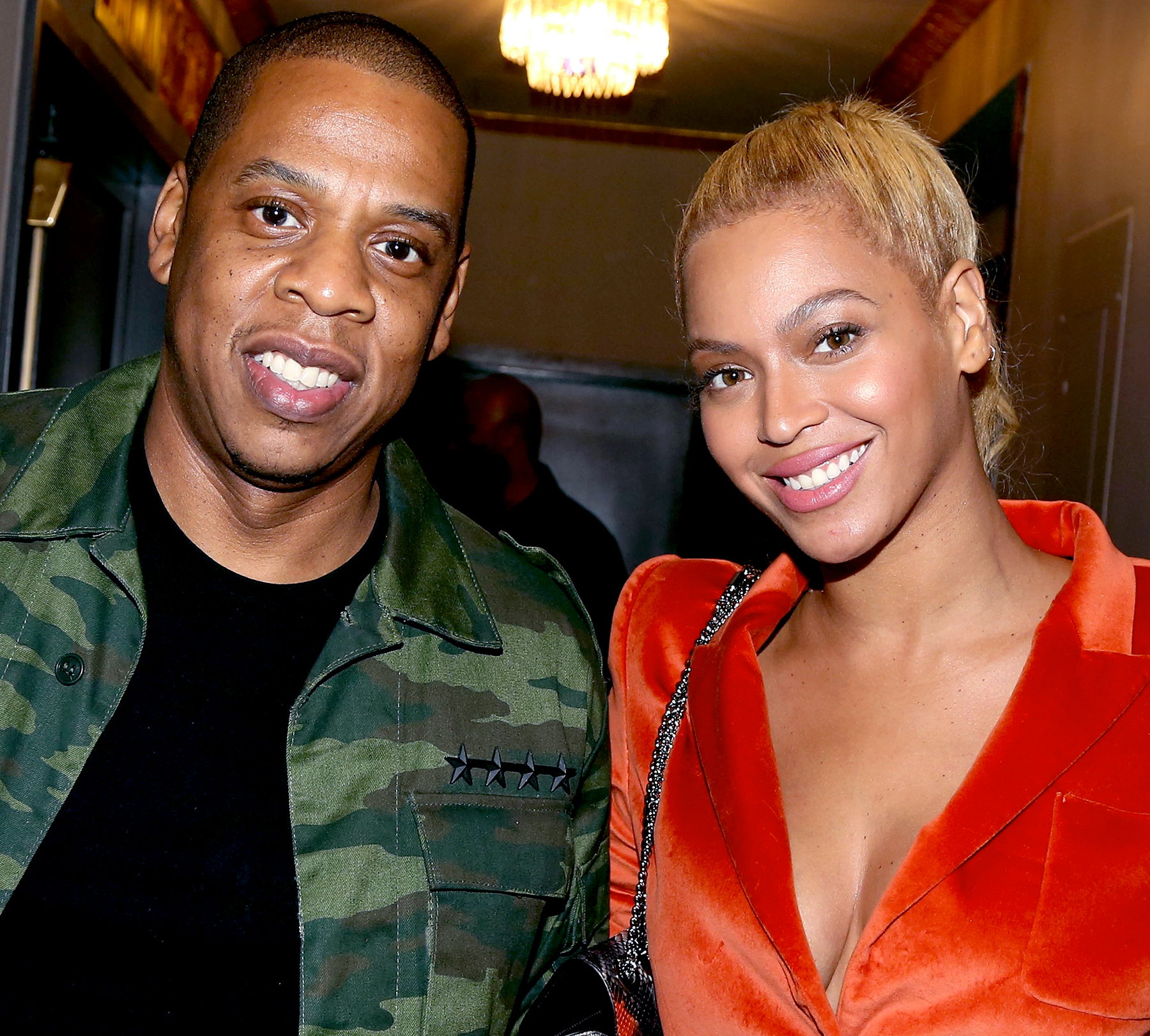 Jay Z and Beyonce pose backstage at the hit musical