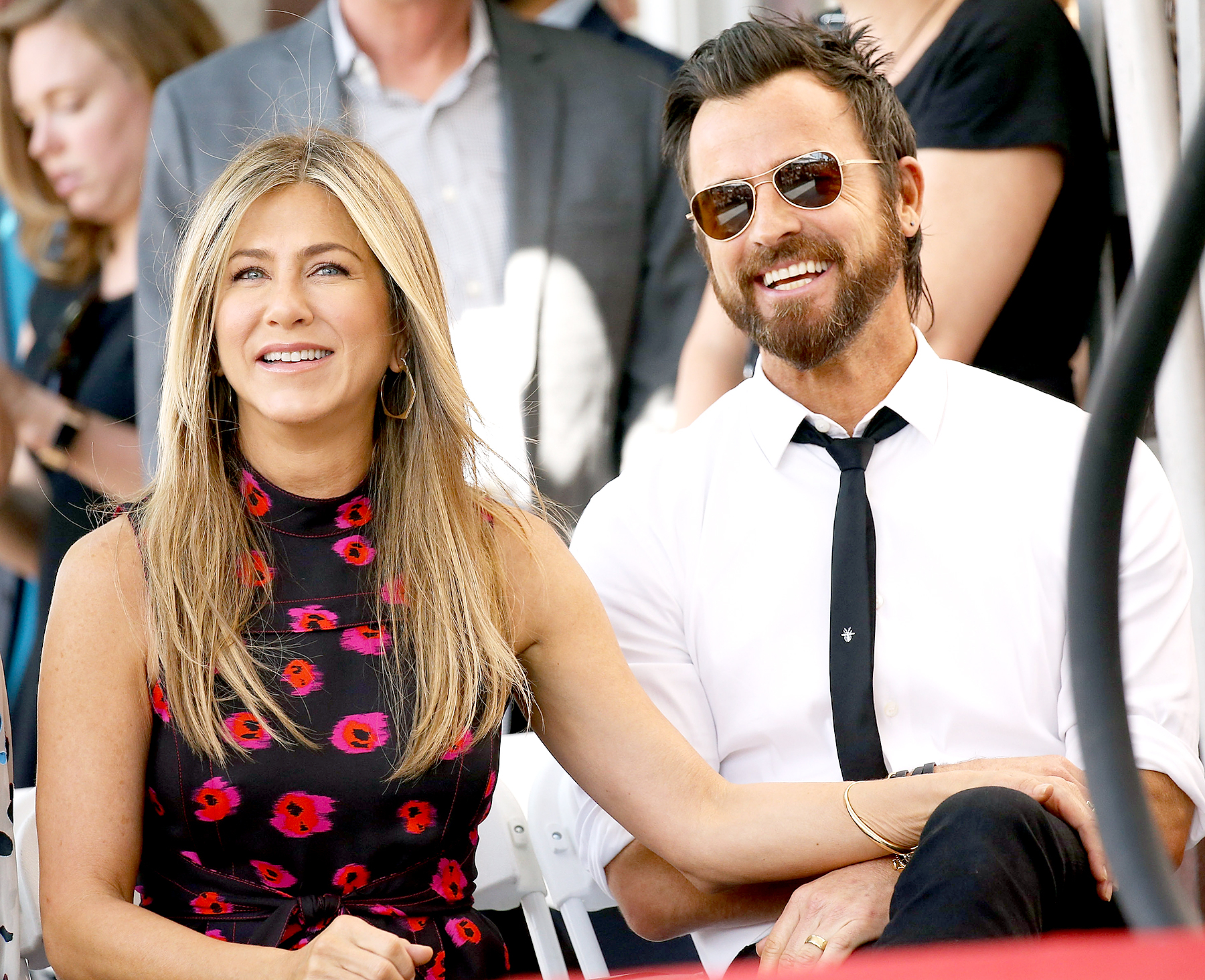 Jennifer Aniston and Justin Theroux attend the ceremony honoring Jason Bateman with a Star on The Hollywood Walk of Fame held on July 26, 2017 in Hollywood, California.