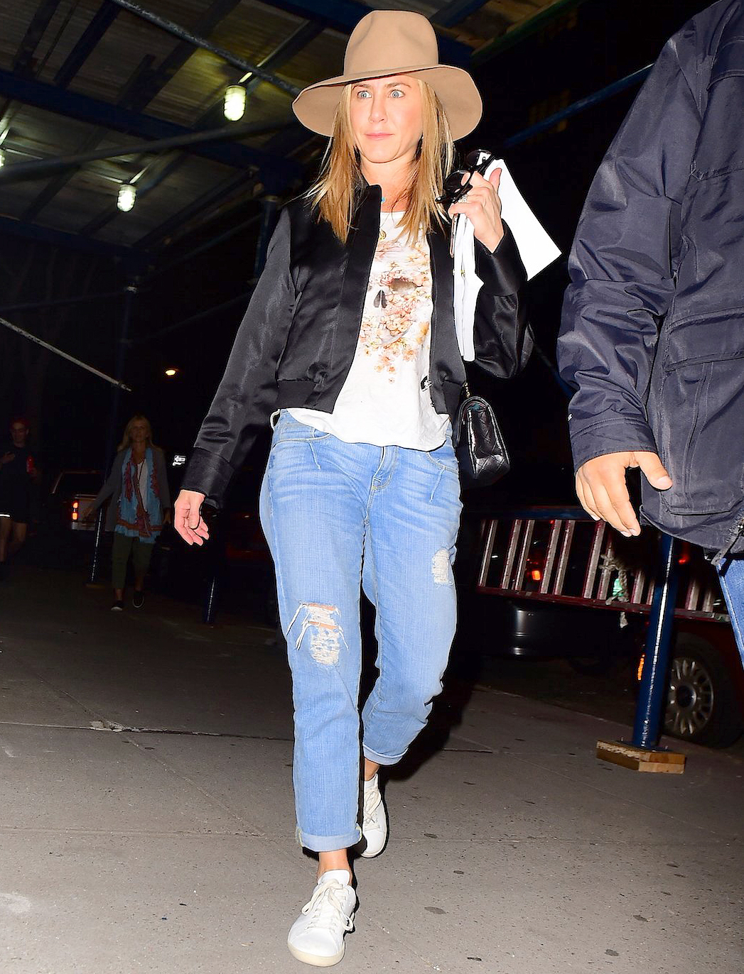 Jennifer Aniston was spotted arriving in NYC on Thursday night.