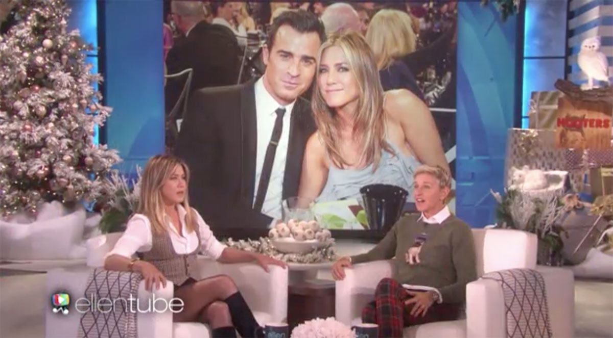 Jennifer Aniston told 'The Ellen DeGeneres Show' host about her surprise Thanksgiving gift